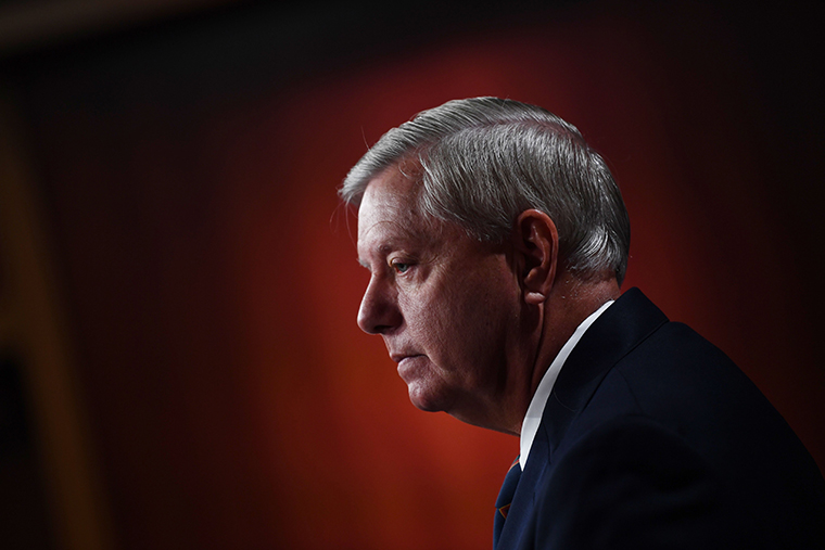 US Senator Lindsey Graham (R-SC) speaks during a news conference at the US Capitol on January 7, 2021 in Washington, DC.