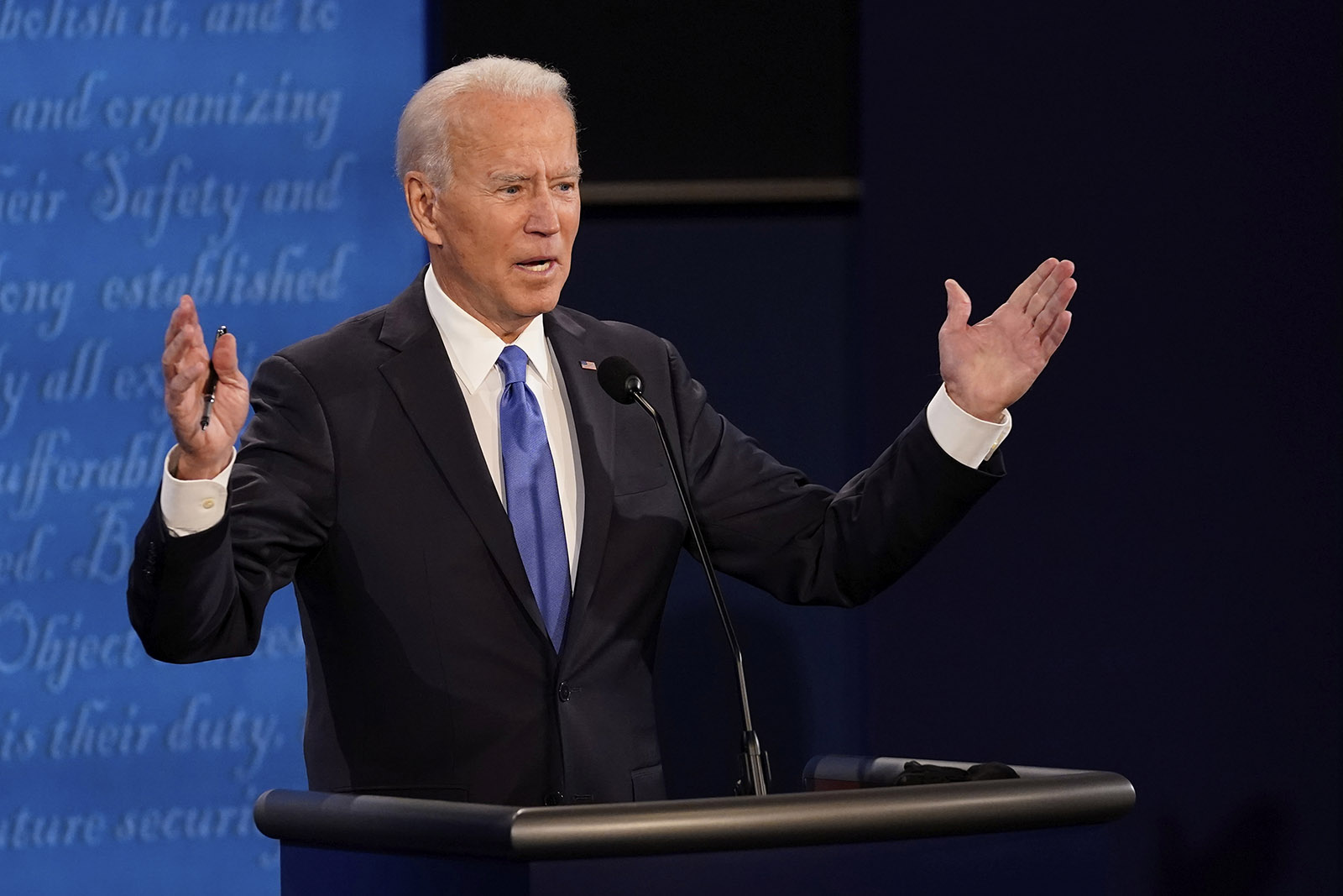 Democratic presidential candidate Joe Biden answers a question during the second and final presidential debate Thursday in Nashville.