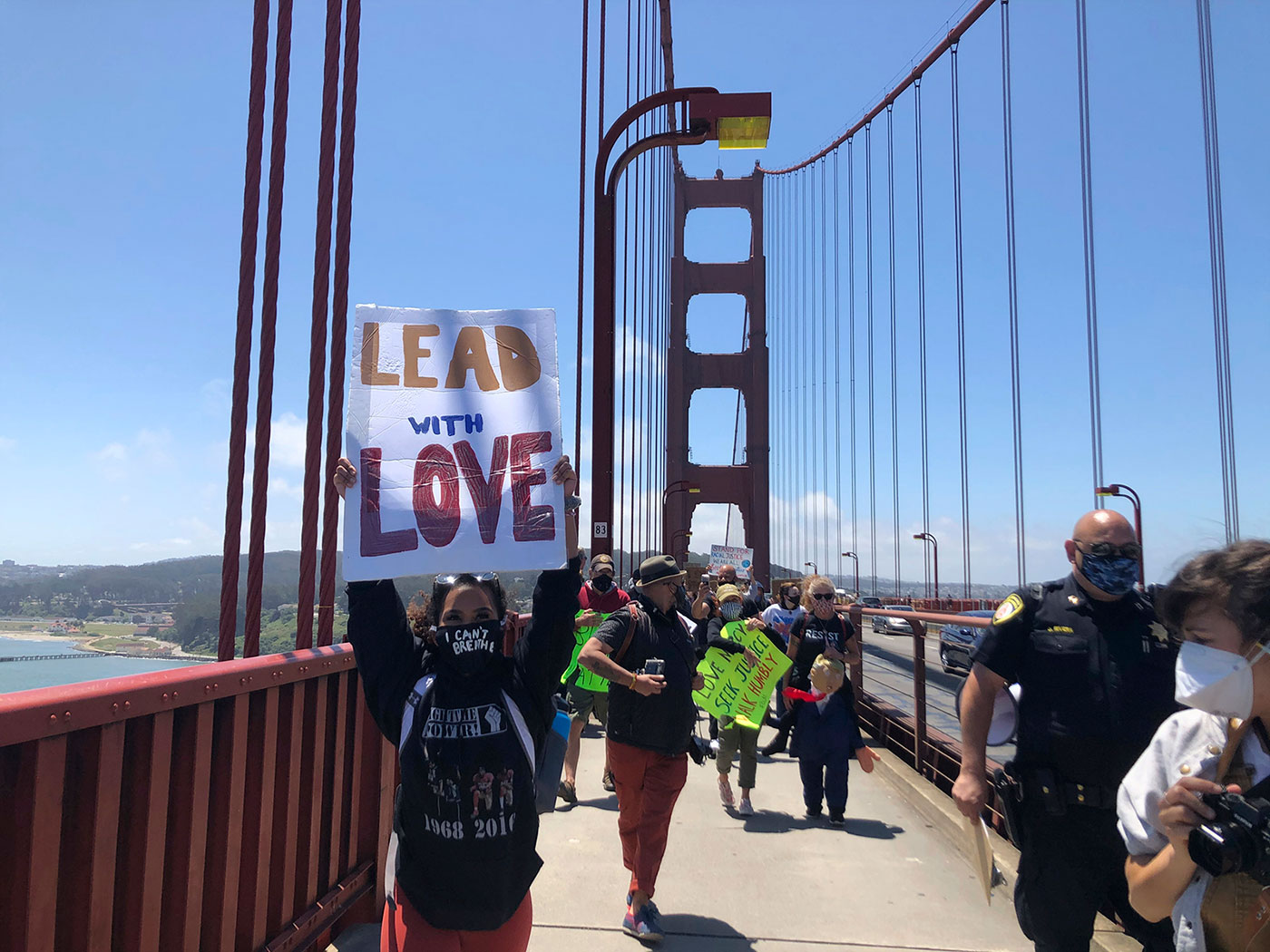 Dozens of people march across the Golden Gate Bridge in San Francisco in support of the Black Lives Matter movement on June 6.