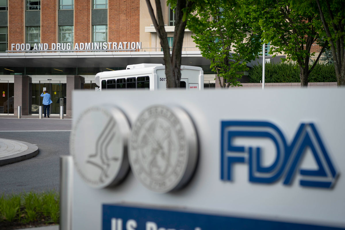 A sign for the Food And Drug Administration is seen outside of its headquarters on July 20 in White Oak, Maryland.