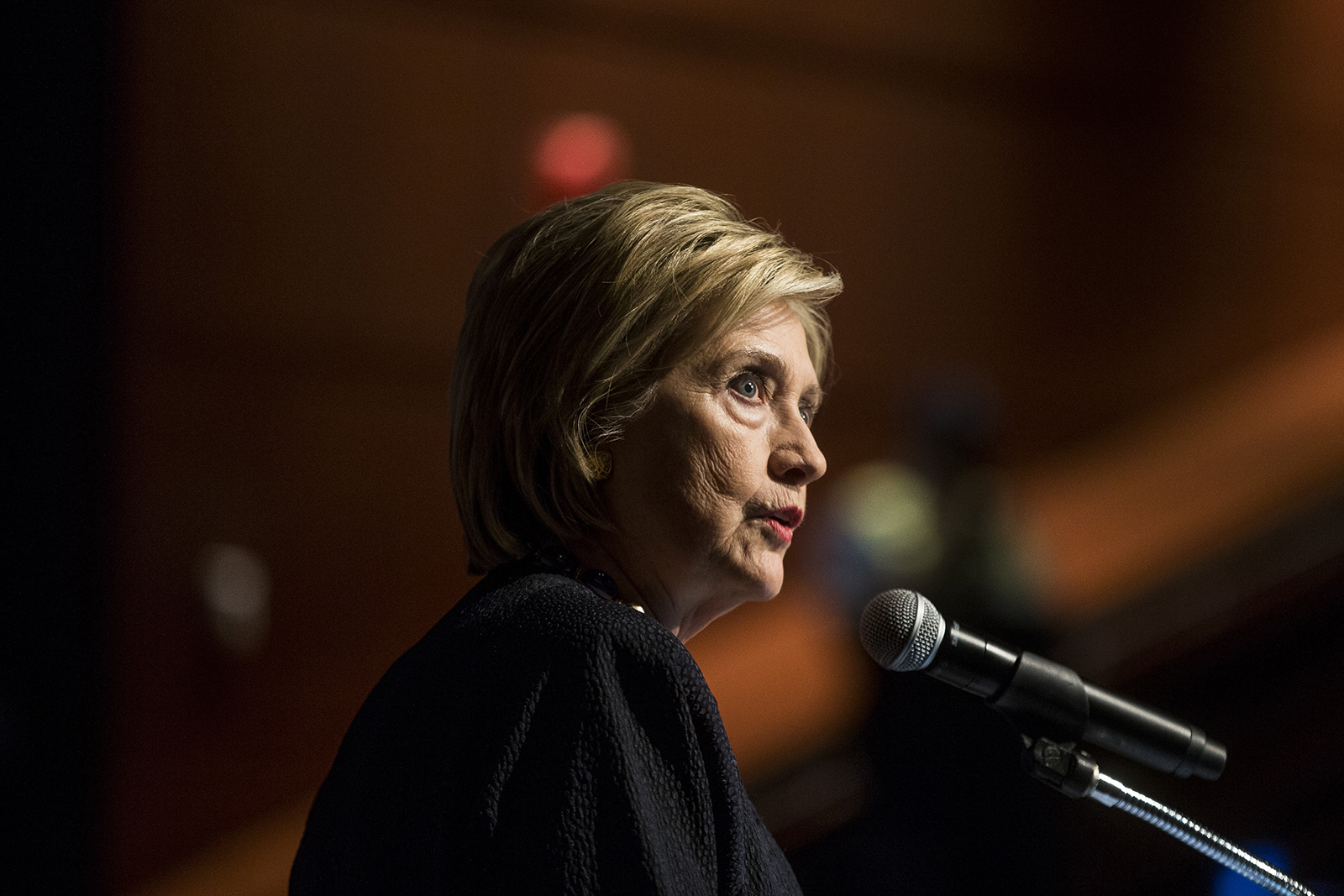 Former Secretary of State Hillary Clinton delivers a keynote speech during the American Federation of Teachers Shanker Institute Defense of Democracy Forum at George Washington University on September 17, 2019 in Washington, DC.
