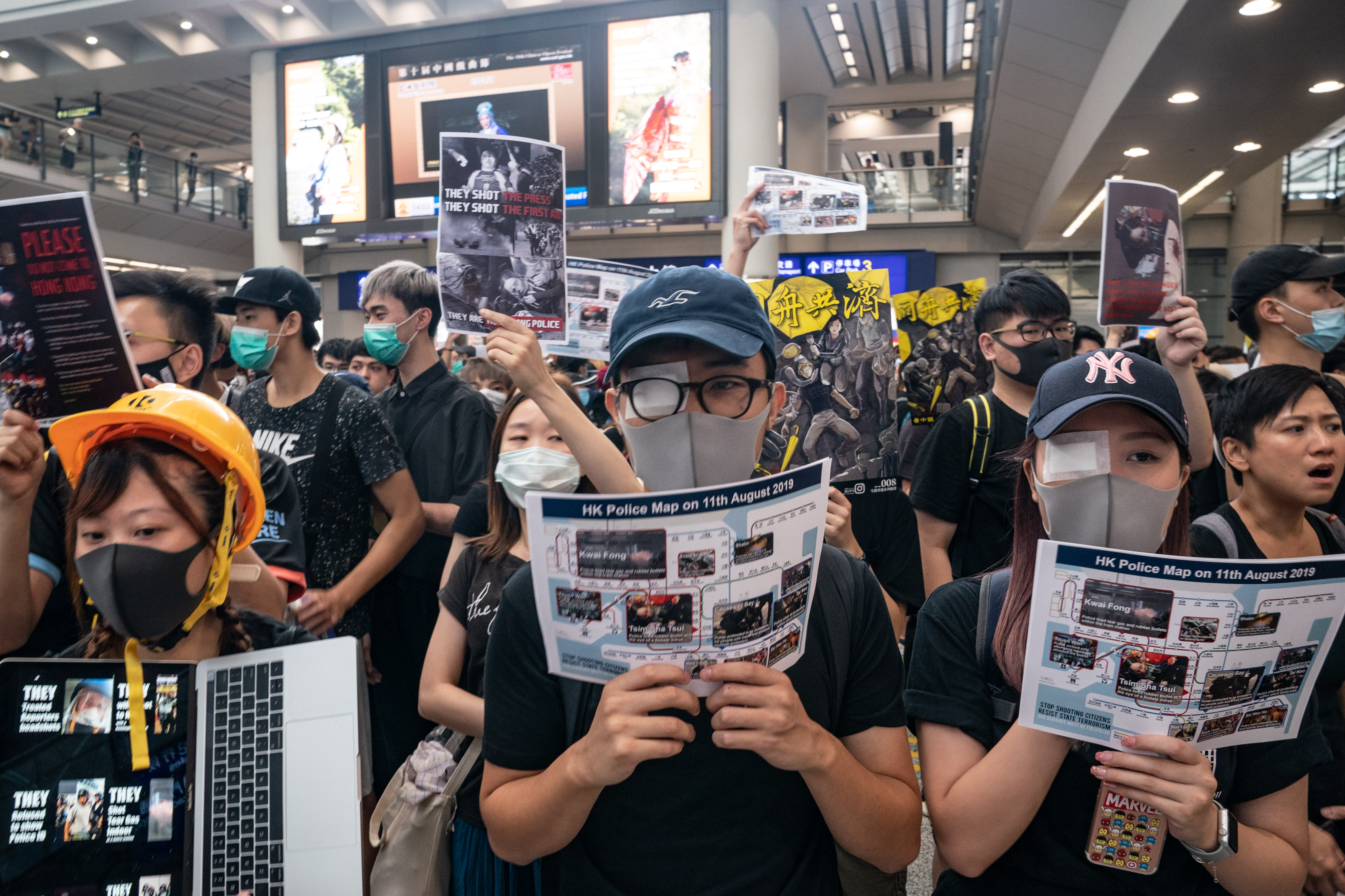 Protesters occupy the arrival hall of the Hong Kong International Airport during a demonstration on August 12.