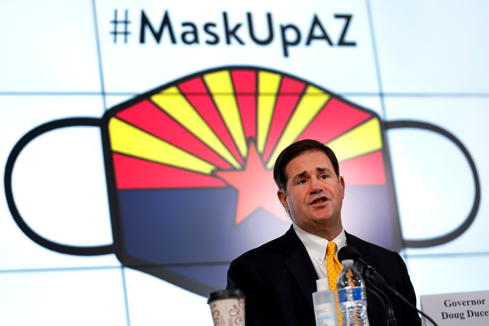 Arizona Gov. Doug Ducey gives an update on the state's efforts to combat the coronavirus pandemic at a press conference in Phoenix on Thursday, July 23.