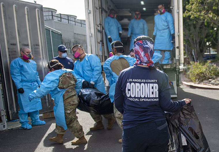 Los Angeles County called upon the National Guard to assist with processing of Covid-19 deaths and placing them into temporary storage at the Los Angeles County Medical Examiner-CoronerOffice. The temporary storage will relieve pressure from overwhelmed hospitals and mortuaries who can't accommodate the deceased.