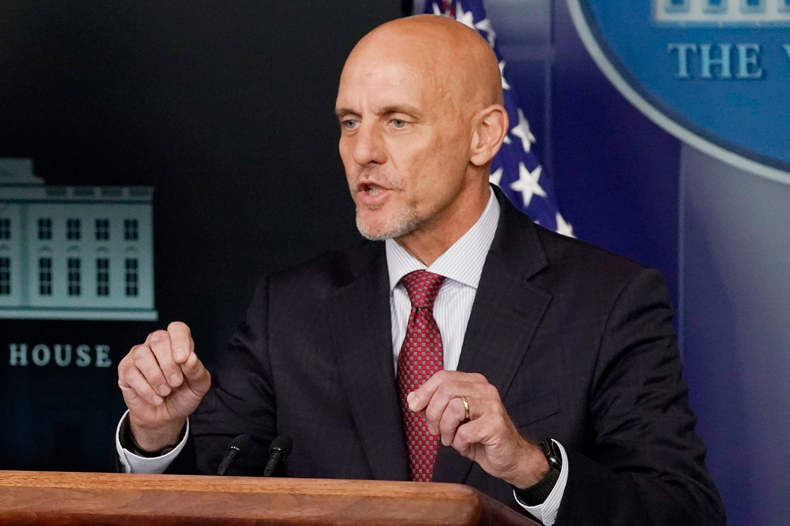 Dr. Stephen Hahn, commissioner of the US Food and Drug Administration, speaks during a media briefing at the White House on Sunday, August 23.