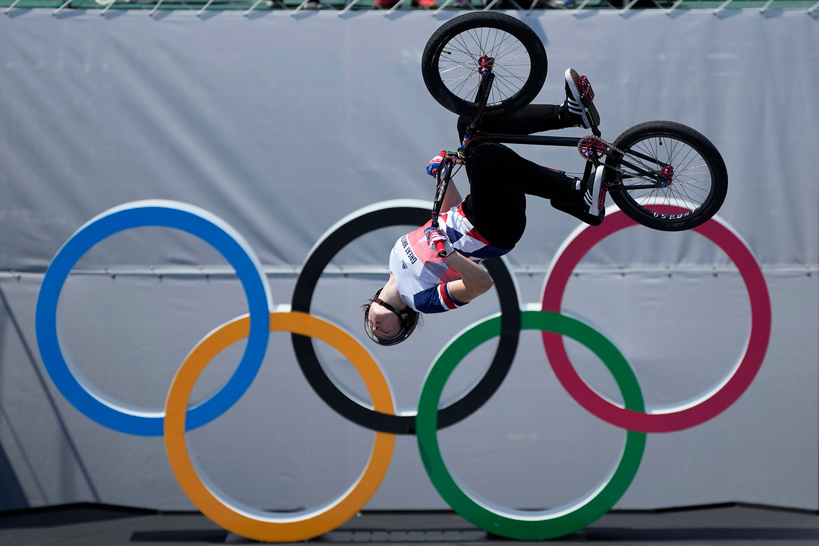 Britain's Charlotte Worthington competes in the BMX freestyle final on Sunday.