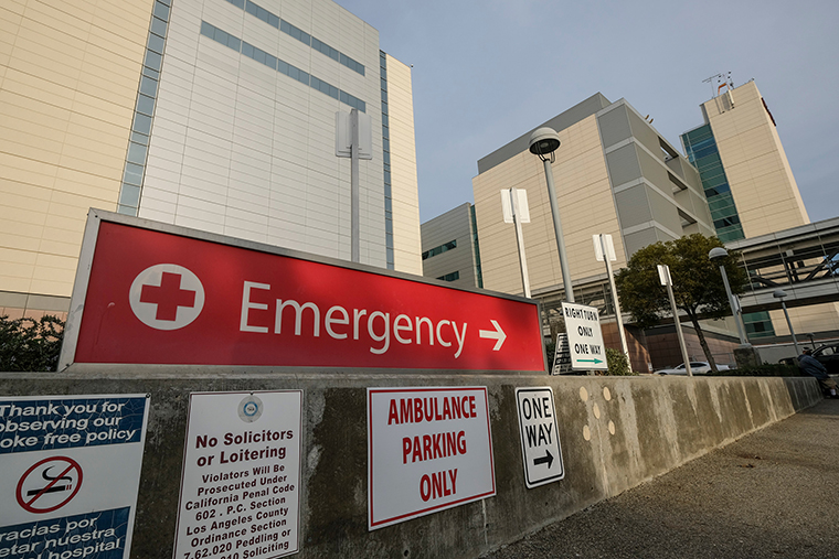 A Emergency sign is seen at Los Angeles County + USC Medical Center in Los Angeles on January 7.