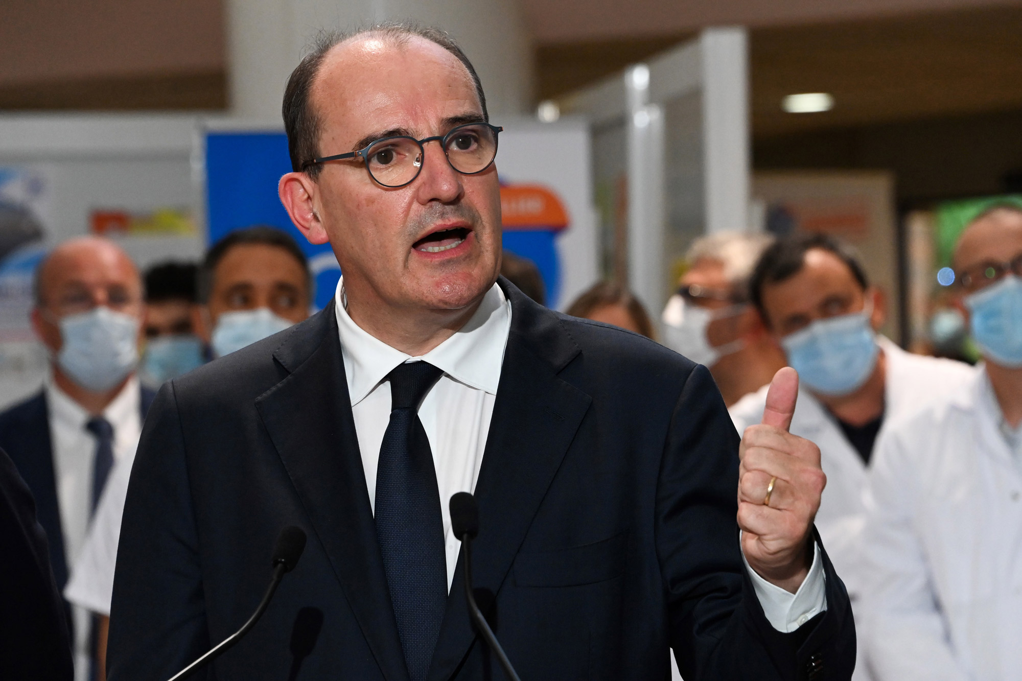French Prime Minister Jean Castex delivers a speech during a visit at the CHU hospital in Montpellier, France, on August 11.