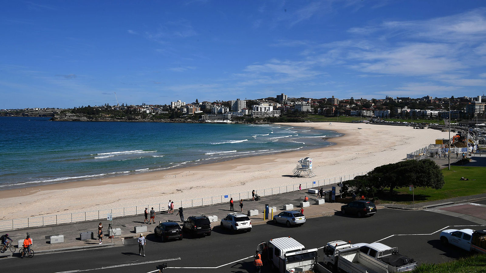 An empty Bondi Beach is seen in Sydney, Australia on April 22.