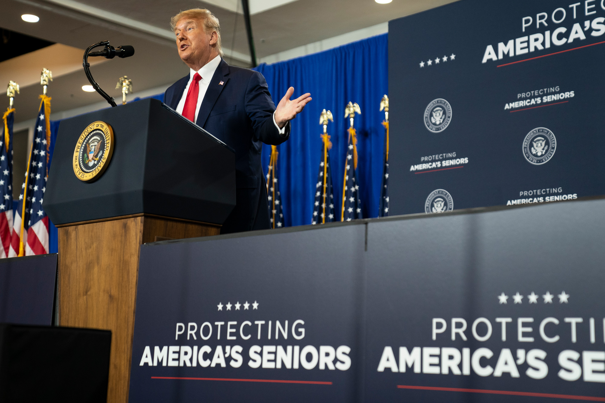 "President Donald Trump speaks during an event on ""Protecting America's Seniors,"" on October 16 in Fort Myers, Florida."