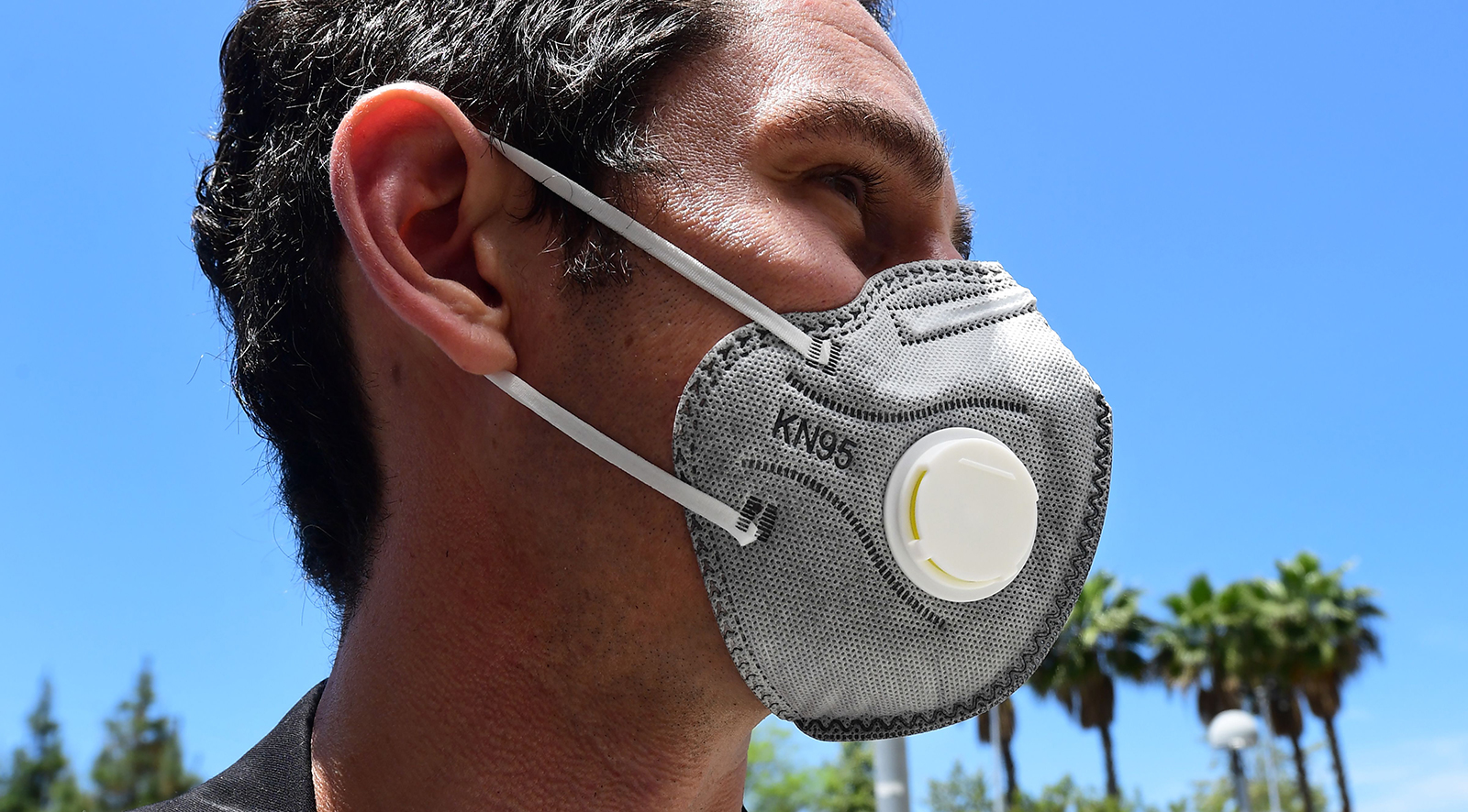 A man wears an N95 mask with filter on May 14, at the LAC+USC Medical Center in Los Angeles.
