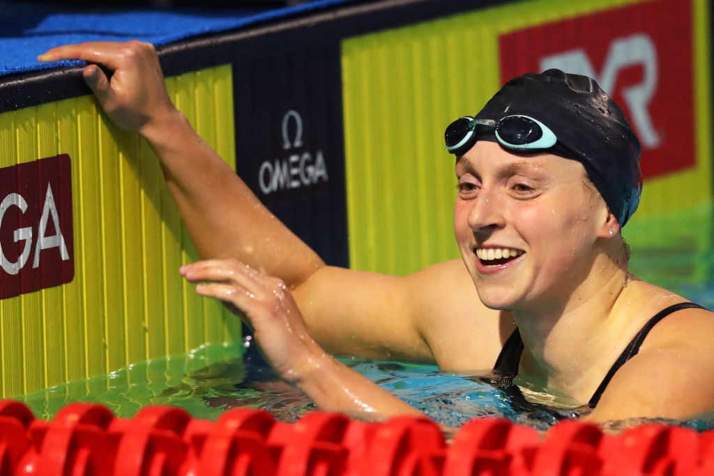 Katie Ledecky reacts after winning at the TYR Pro Swim Series at Des Moines, Iowa, on March 6.