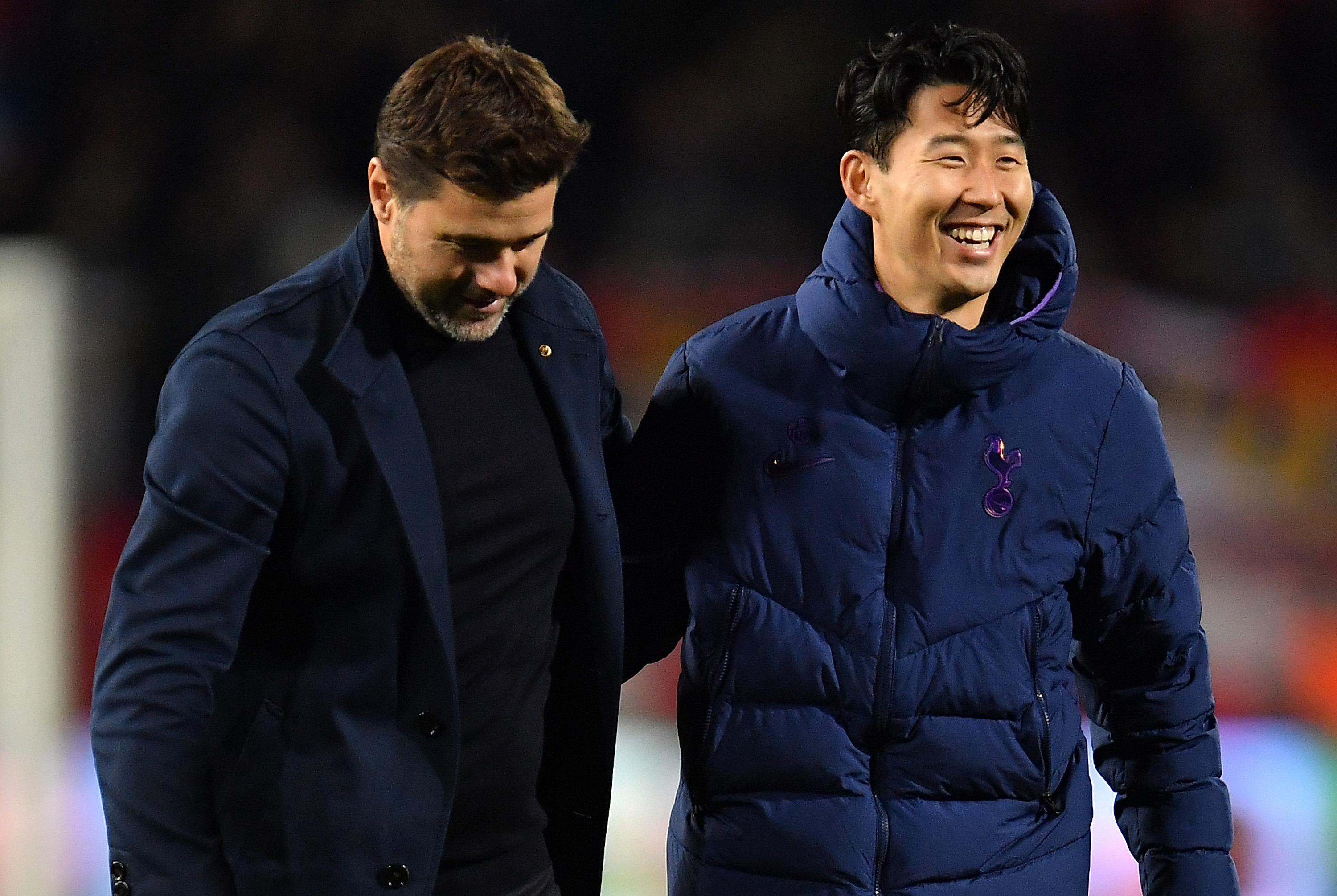 Tottenham boss Mauricio Pochettino congratulates Son Heung-min at the final whistle.