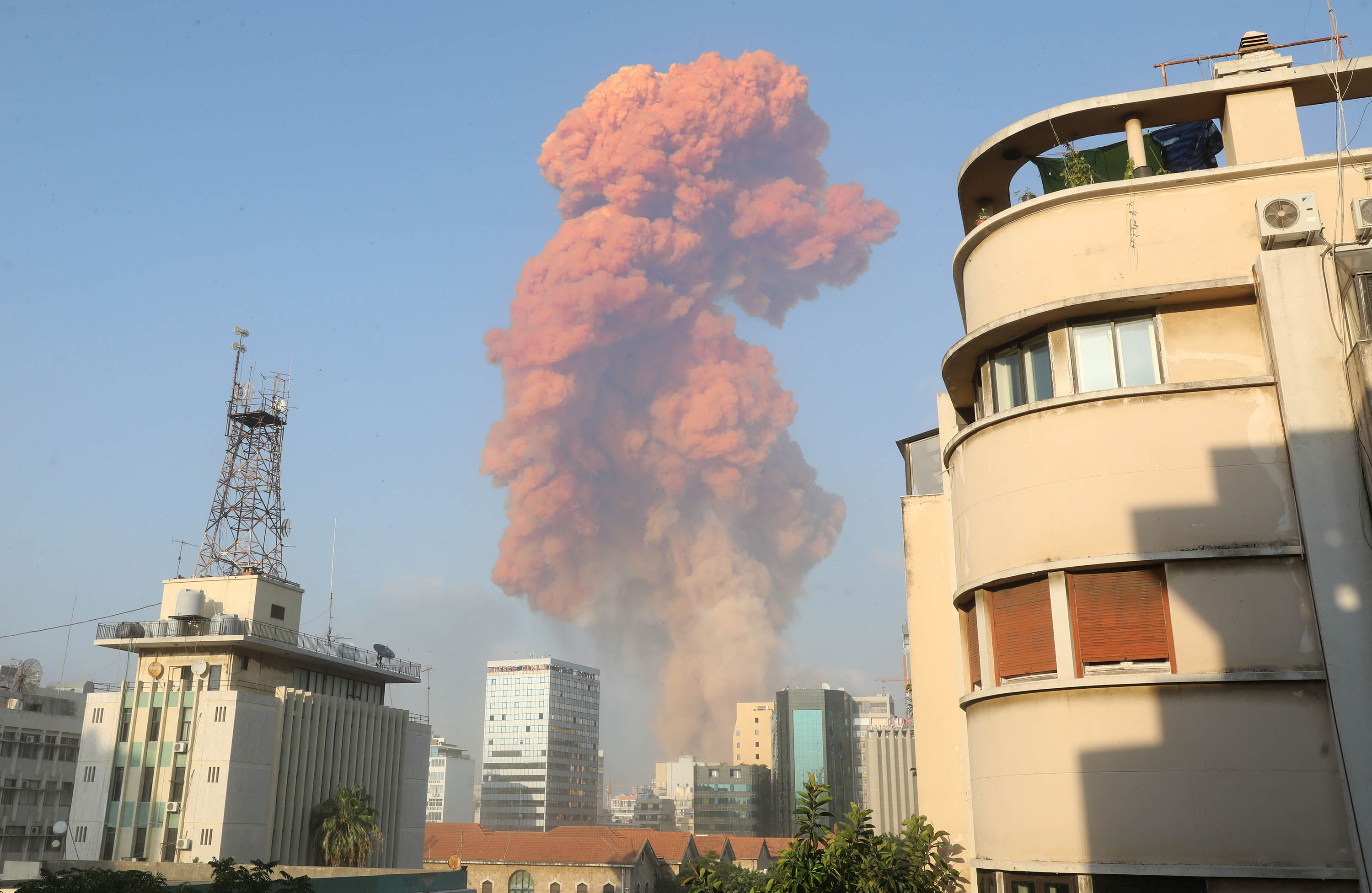 An explosion is seen in Beirut, Lebanon, on August 4.