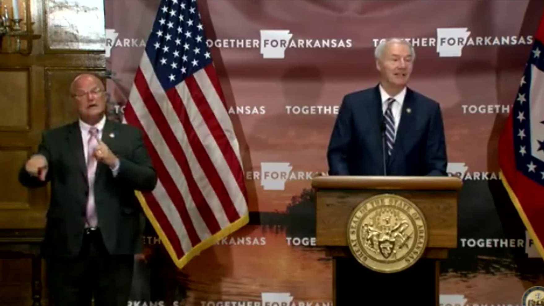 Arkansas Gov. Asa Hutchinson speaks during a press conference in Little Rock, Arkansas, on August 3.