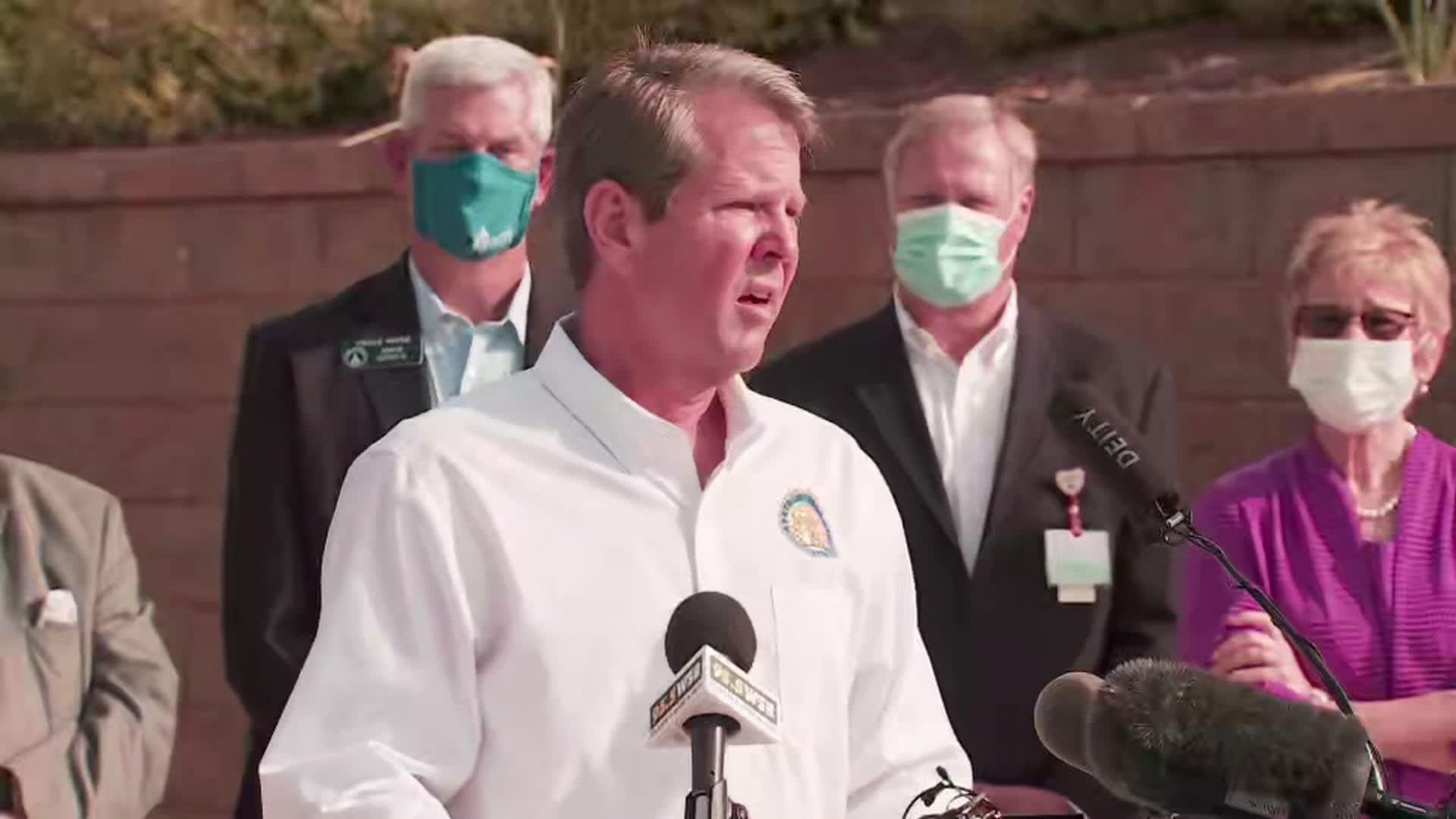 Georgia Gov. Brian Kemp speaks during a press conference in Dalton, Georgia, on July 2.