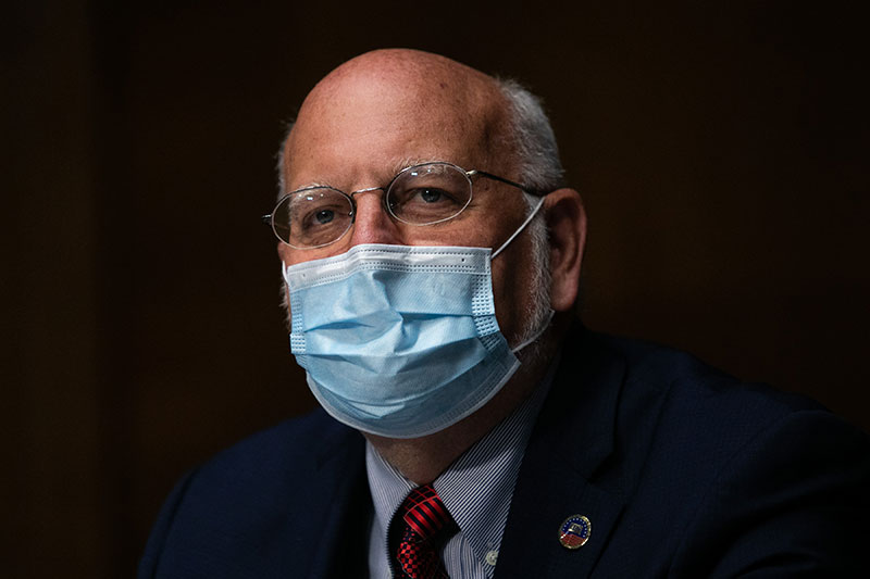 CDC Director Dr. Robert Redfield testifies at a Senate Labor, Health and Human Services, Education and Related Agencies Subcommittee hearing in Washington, DC, on July 2.
