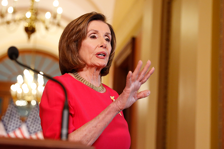 House Speaker Nancy Pelosi speaks outside her office on Capitol Hill, Monday, March 23.