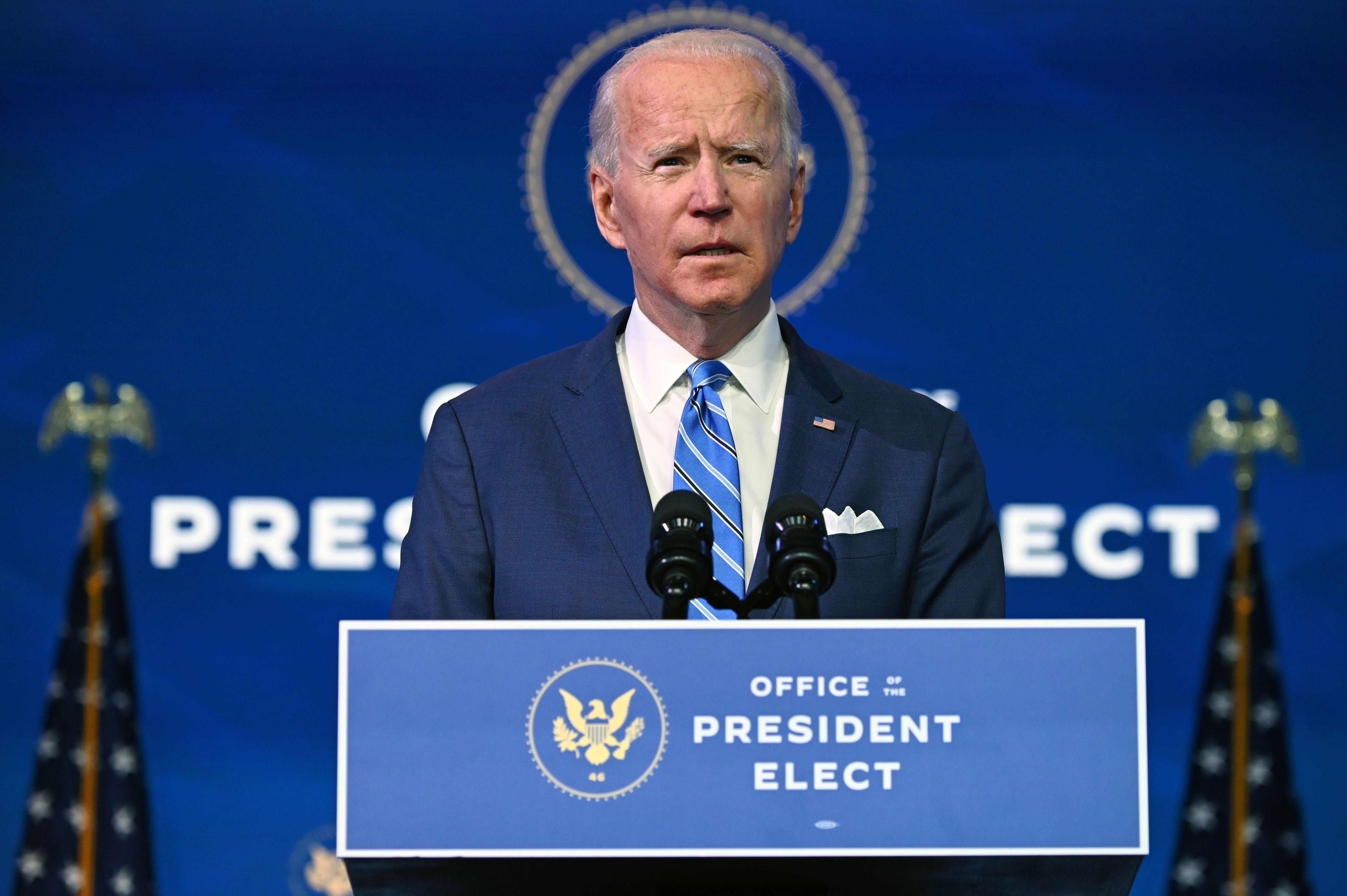 President-elect Joe Biden speaks in Wilmington, Delaware, on January 14.