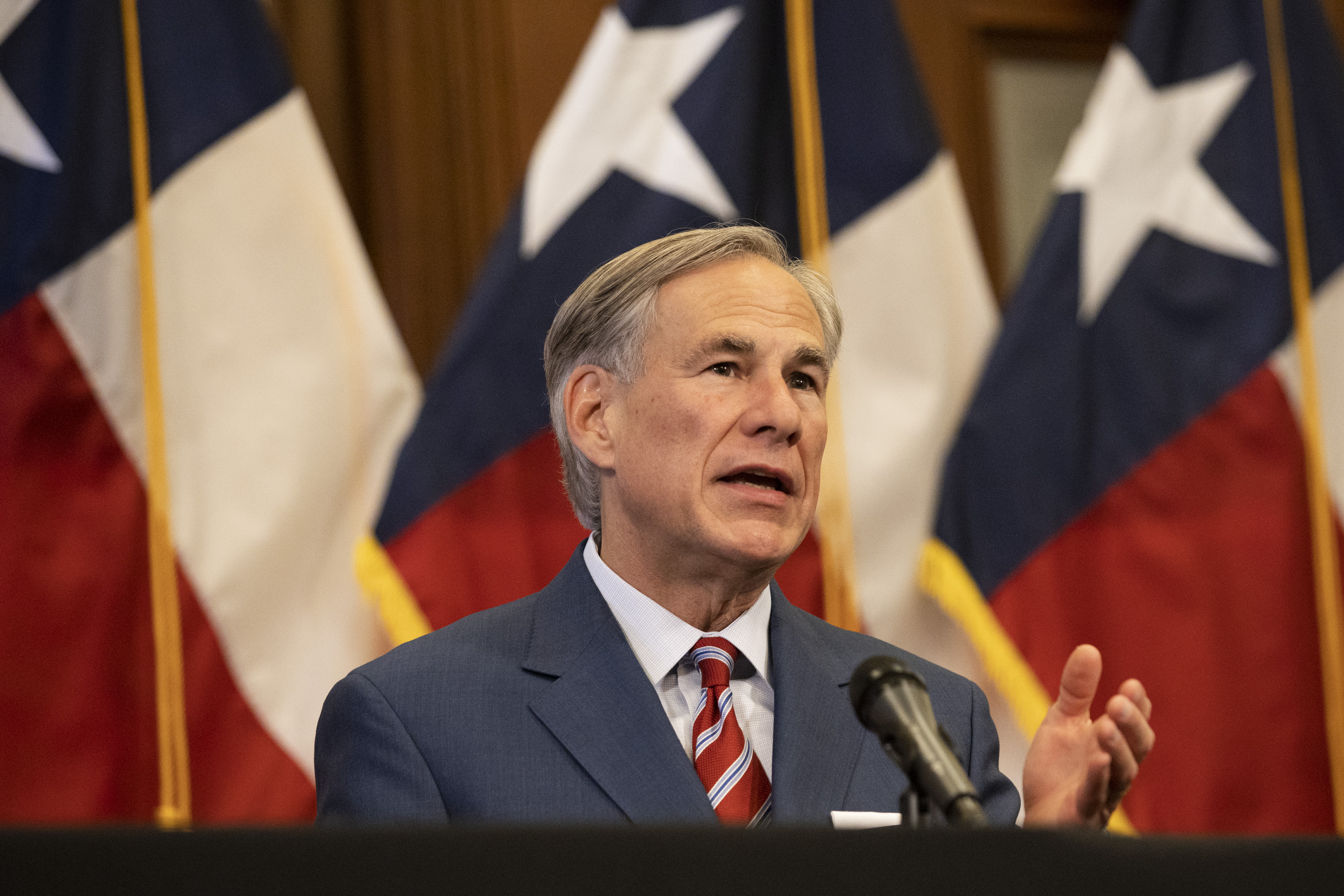 Texas Gov. Greg Abbott speaks at a press conference in Austin, Texas, on May 18.