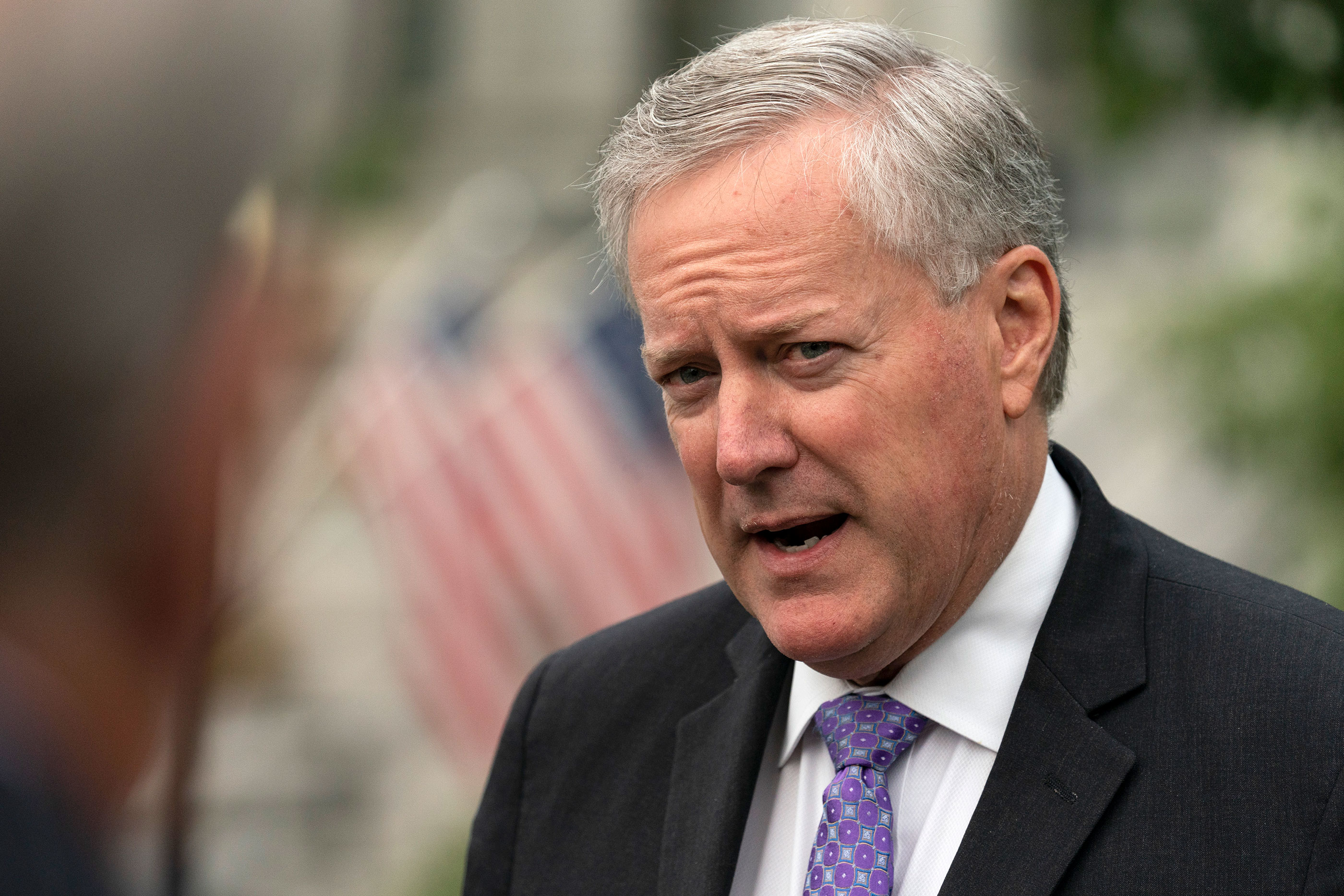 White House Chief of Staff Mark Meadows speaks with reporters at the White House on September 17 in Washington, DC.