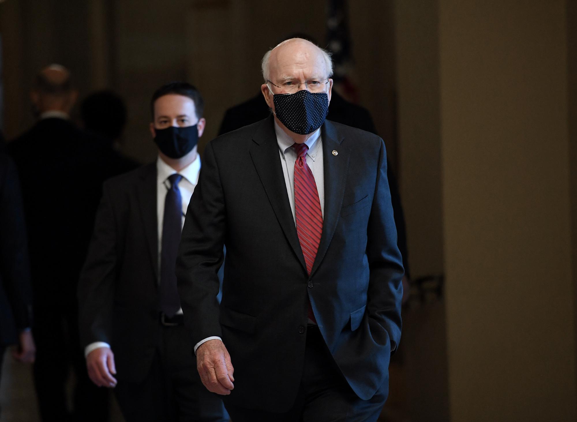Senator Patrick J. Leahy walks to the Senate floor on Capitol Hill on February 2 in Washington, DC.