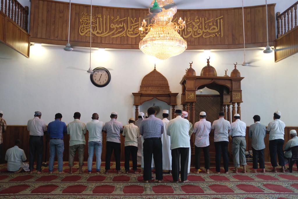 Sri Lankan Muslims pray at a Colombo mosque.
