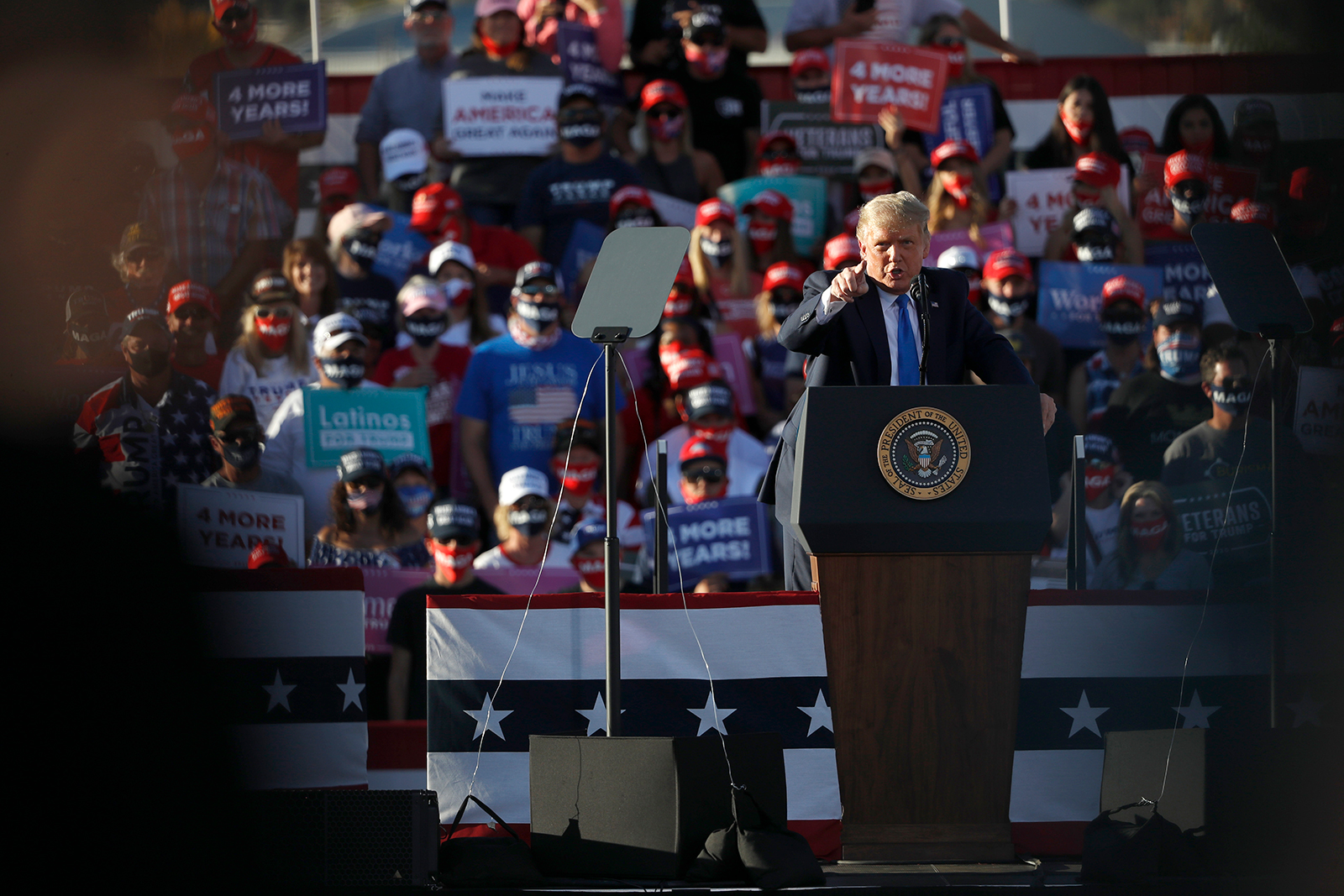 President Donald Trump gestures during a campaign rally in Carson City, Nevada, on October 18.