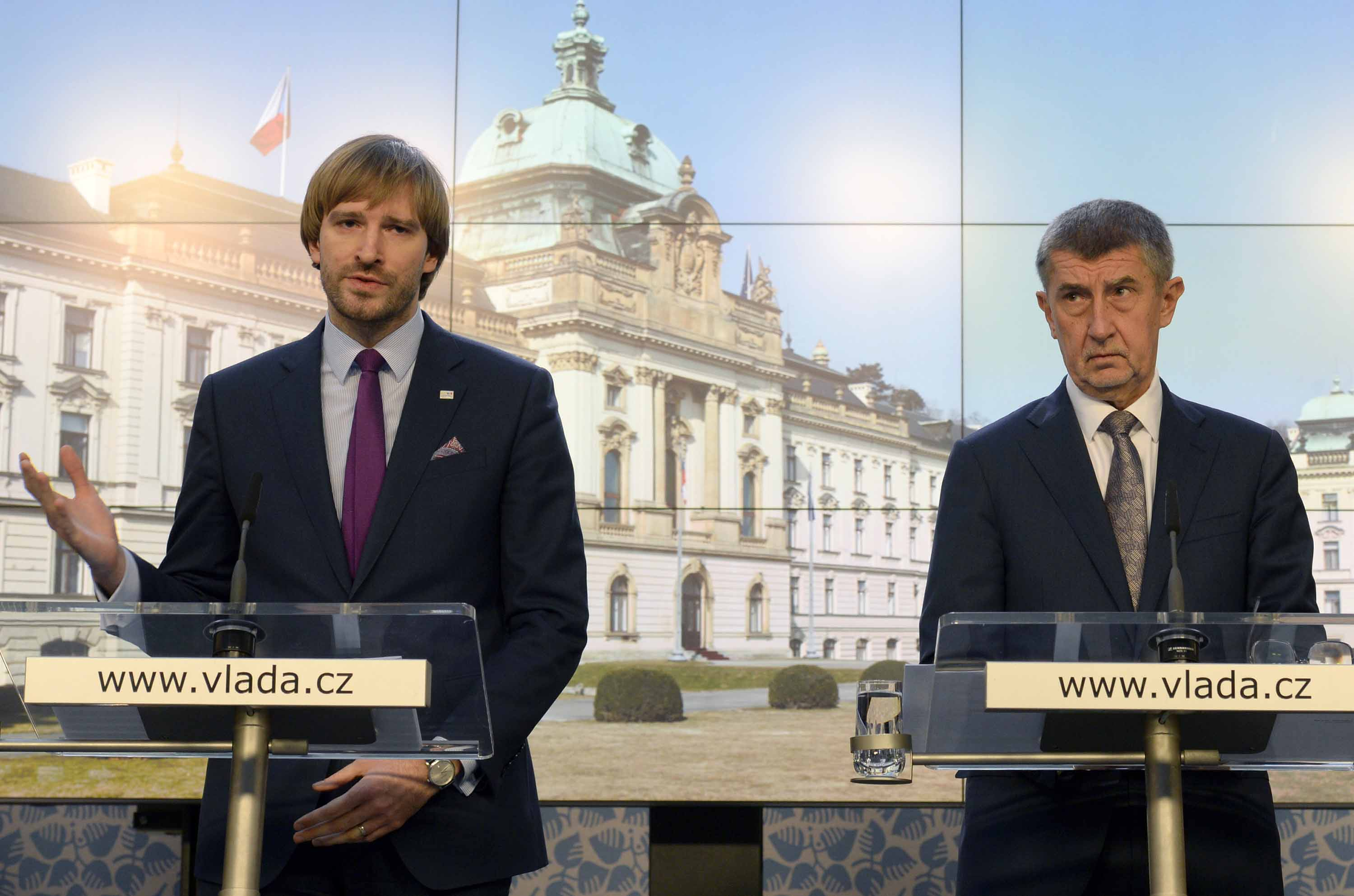 Czech Health Minister Adam Vojtech, left, and Prime Minister Andrej Babis speak at a press conference in Prague, Czech Republic, on Tuesday.