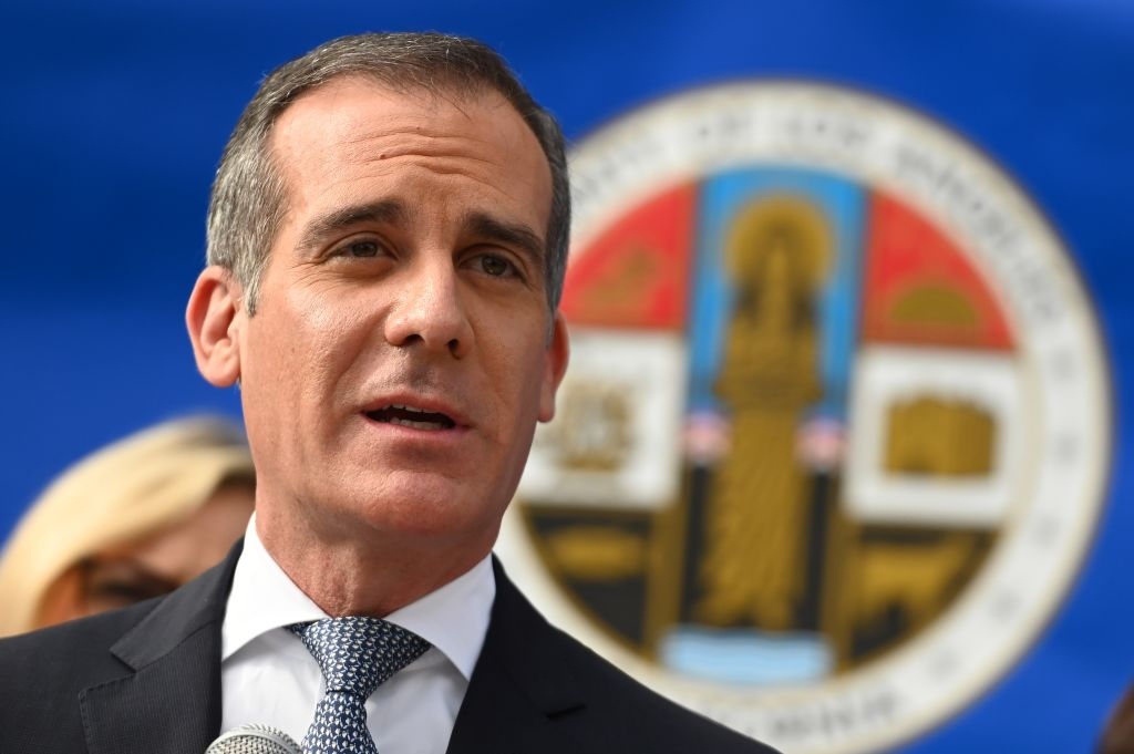 Los Angeles Mayor Eric Garcetti speaks at a press conference on the novel coronavirus on March 4 in Los Angeles, California.
