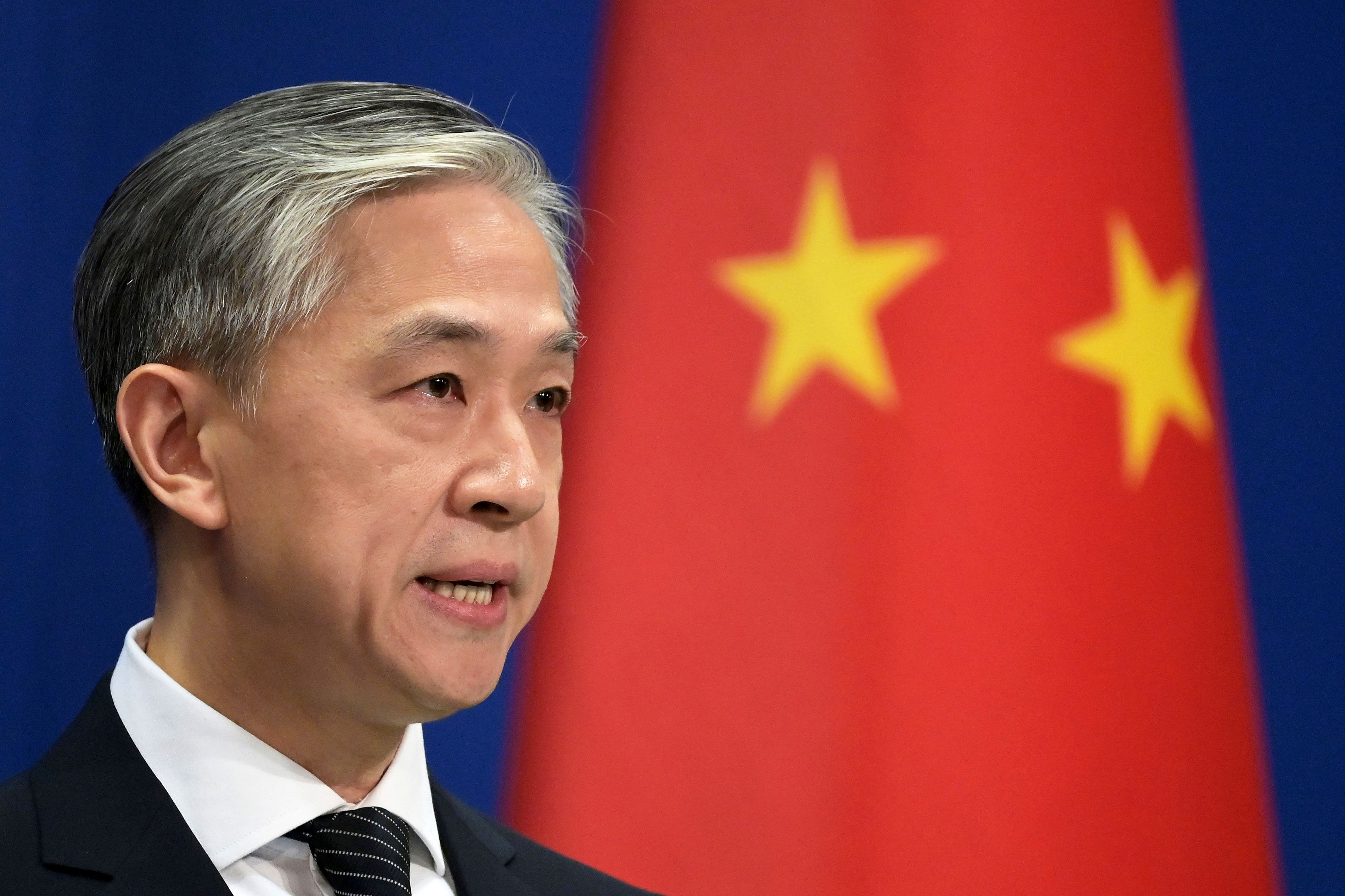 Wang Wenbin, Chinese Ministry of Foreign Affairs spokesperson, speaks at a briefing in Beijing on November 9.