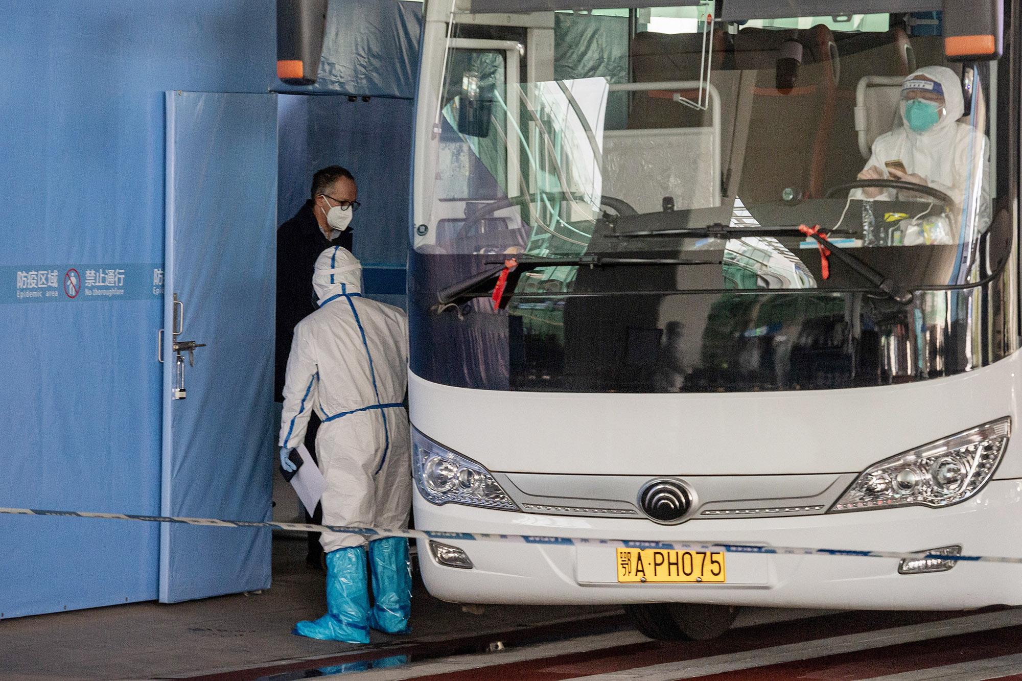 A team from the World Health Organization (WHO) investigating the origins of the Covid-19 pandemic arrived at the airport in Wuhan, China, on January 14.