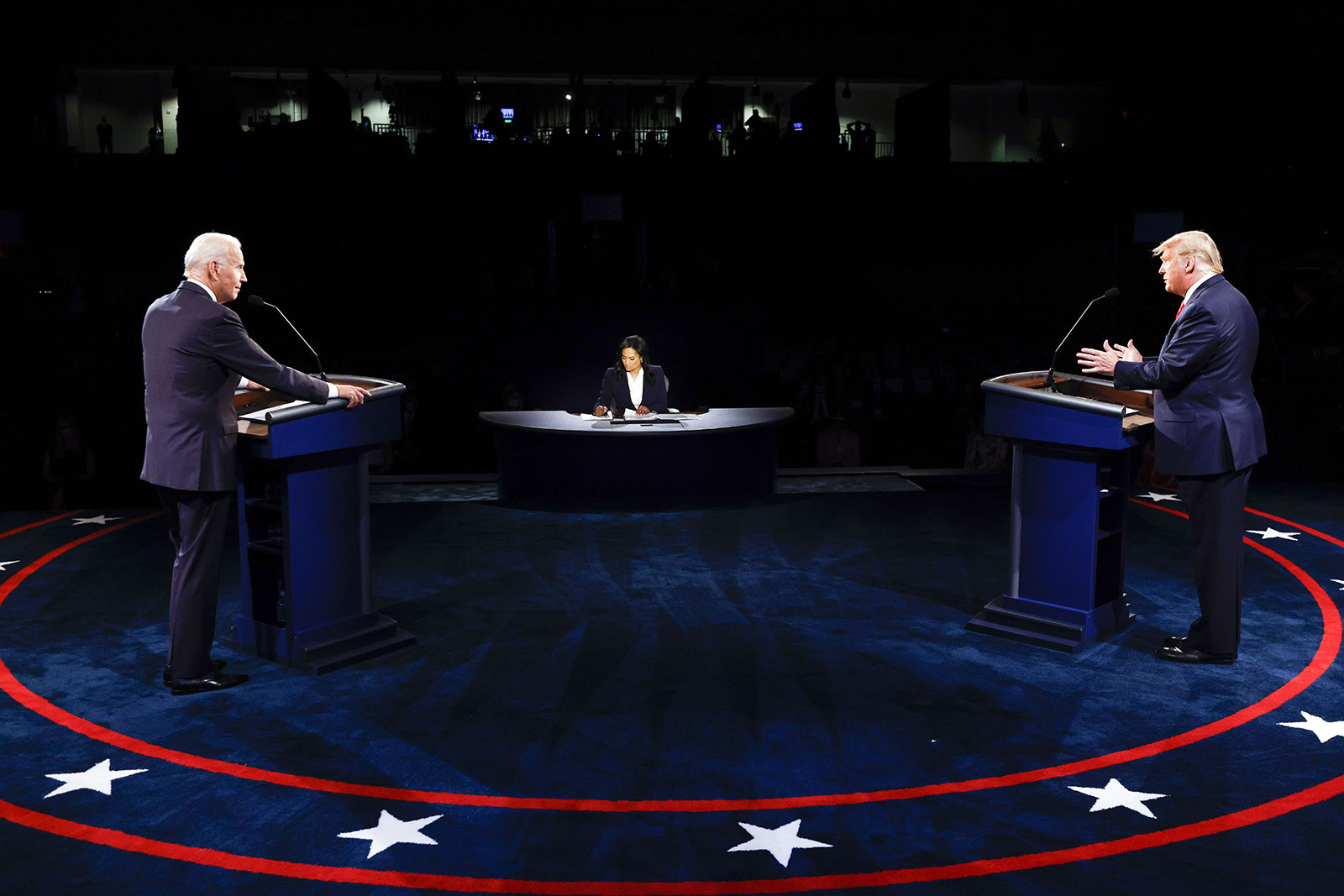 President Donald Trump and Democratic presidential candidate Joe Biden participate in the final presidential debate at Belmont University on Thursday in Nashville.