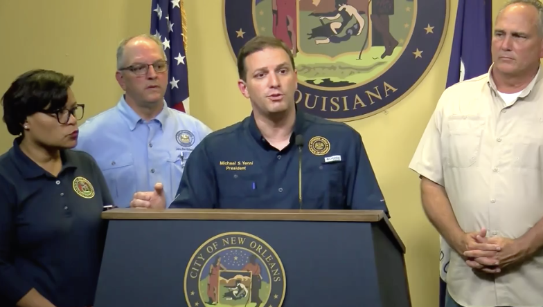 Jefferson Parish President Michael Yenni speaks at news conference on Thursday ahead of Tropical Storm Barry.