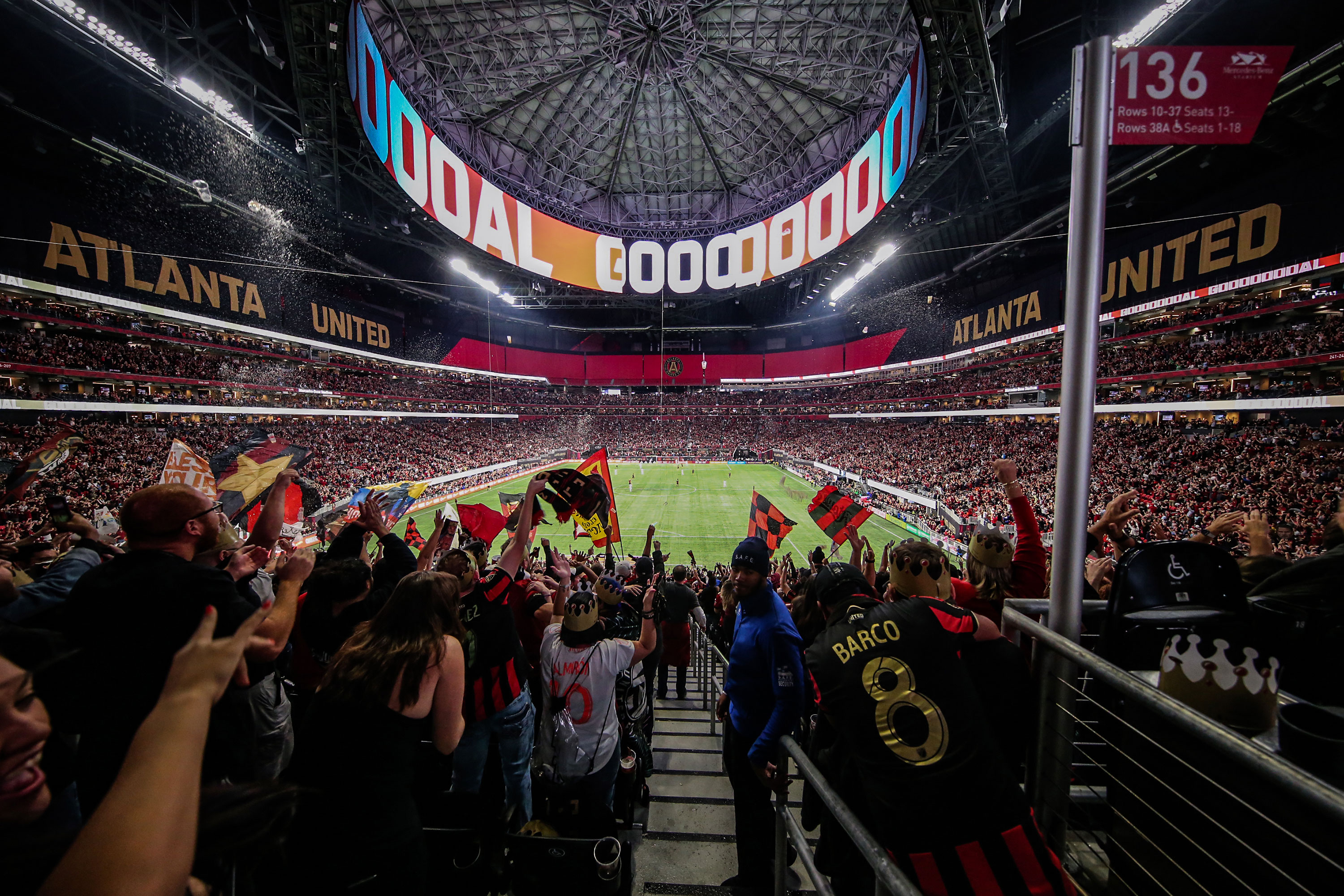 Fans celebrate a goal scored by Atlanta United at Mercedes-Benz Stadium Atlanta in 2019.