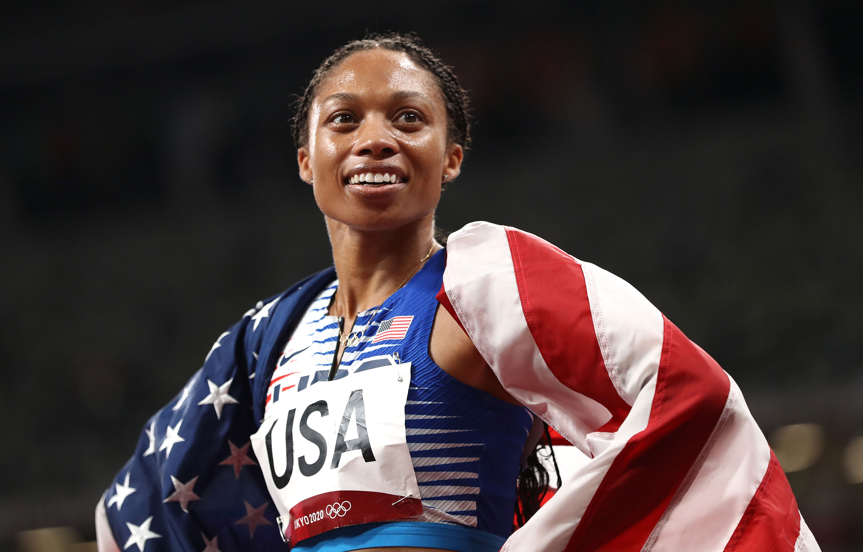 American Allyson Felix reacts after winning gold in the 4x400 meter relay final on Saturday.