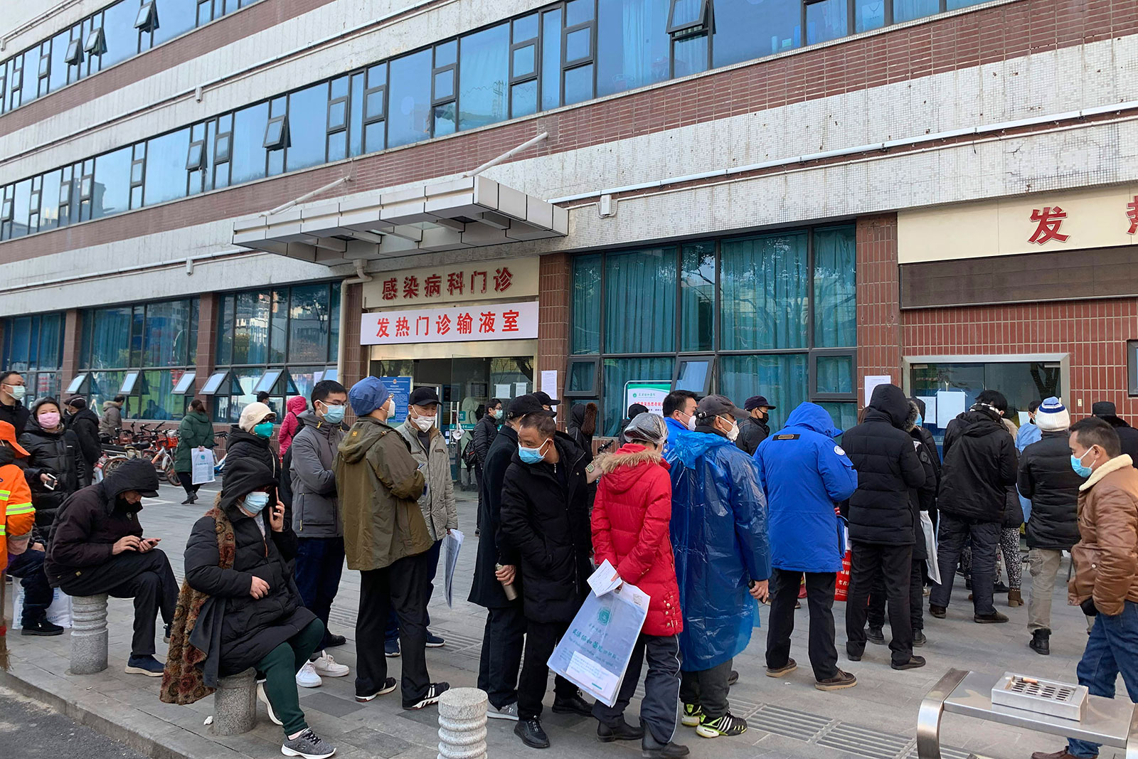 People line up outside a fever clinic at Wuhan Union Hospital on January 31.