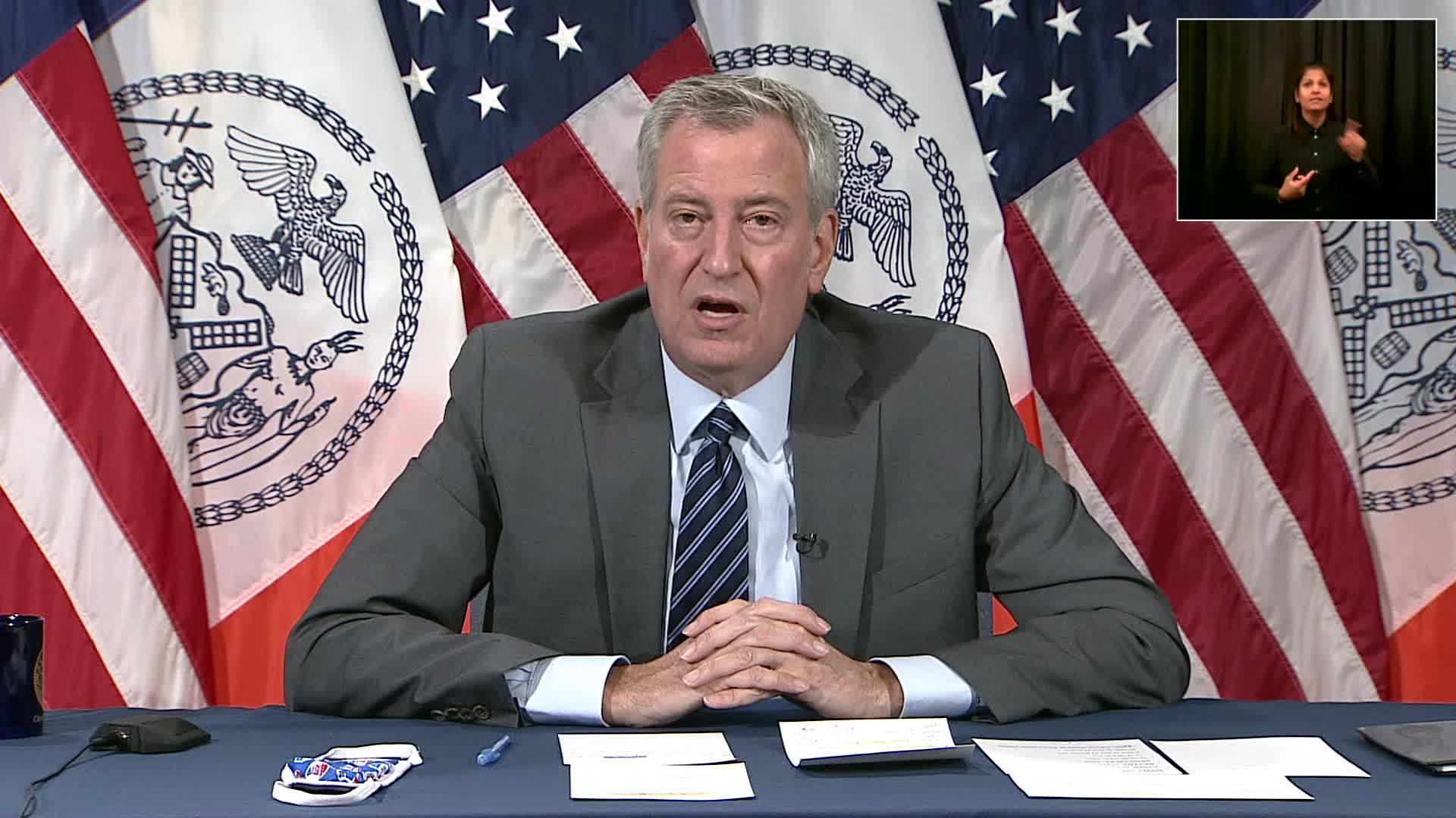 New York City Mayor Bill de Blasio speaks during a press briefing in New York City on November 10.