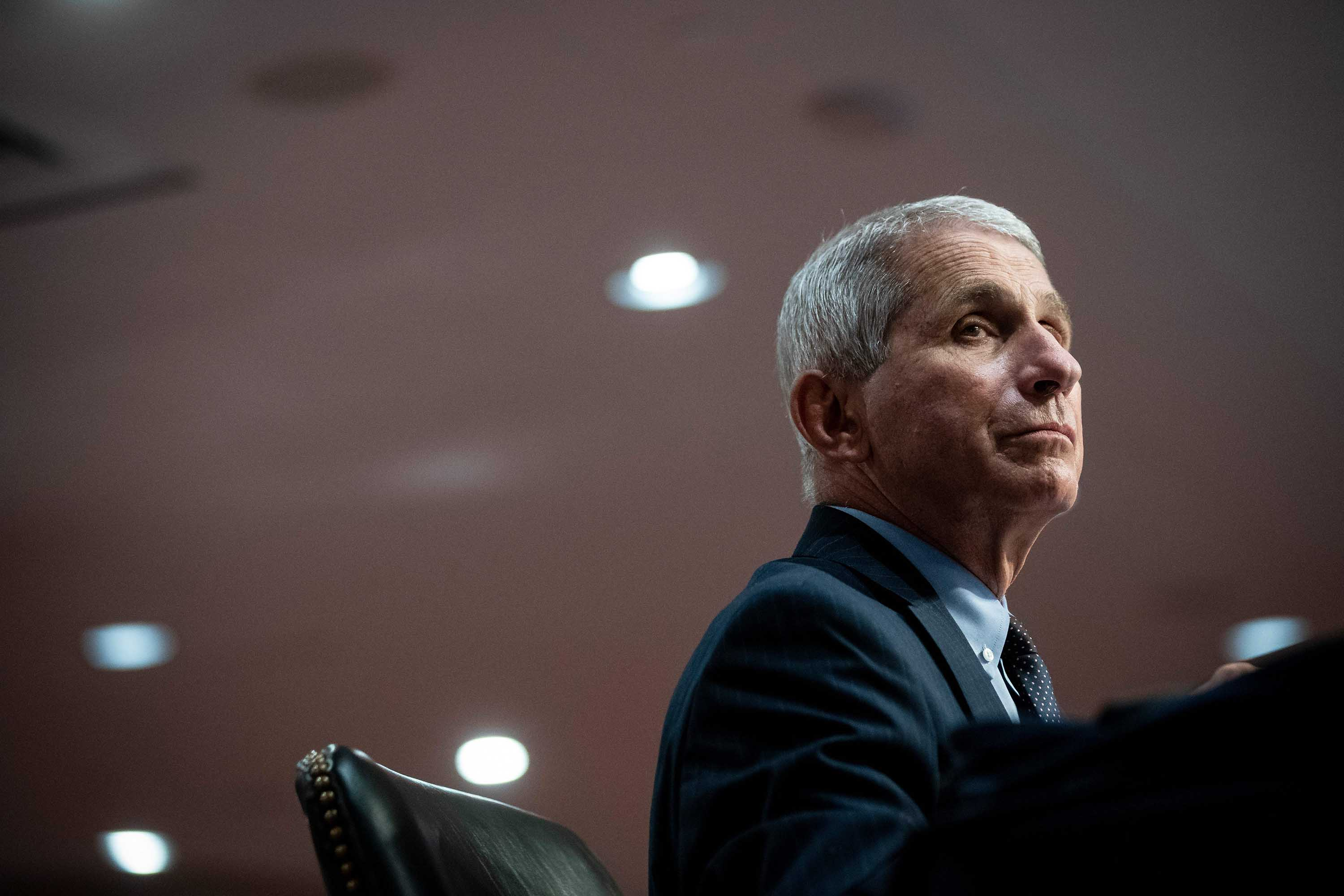 Dr. Anthony Fauci, director of the National Institute of Allergy and Infectious Diseases, listens during a Senate Health, Education, Labor and Pensions Committee hearing in Washington, DC, on June 30.