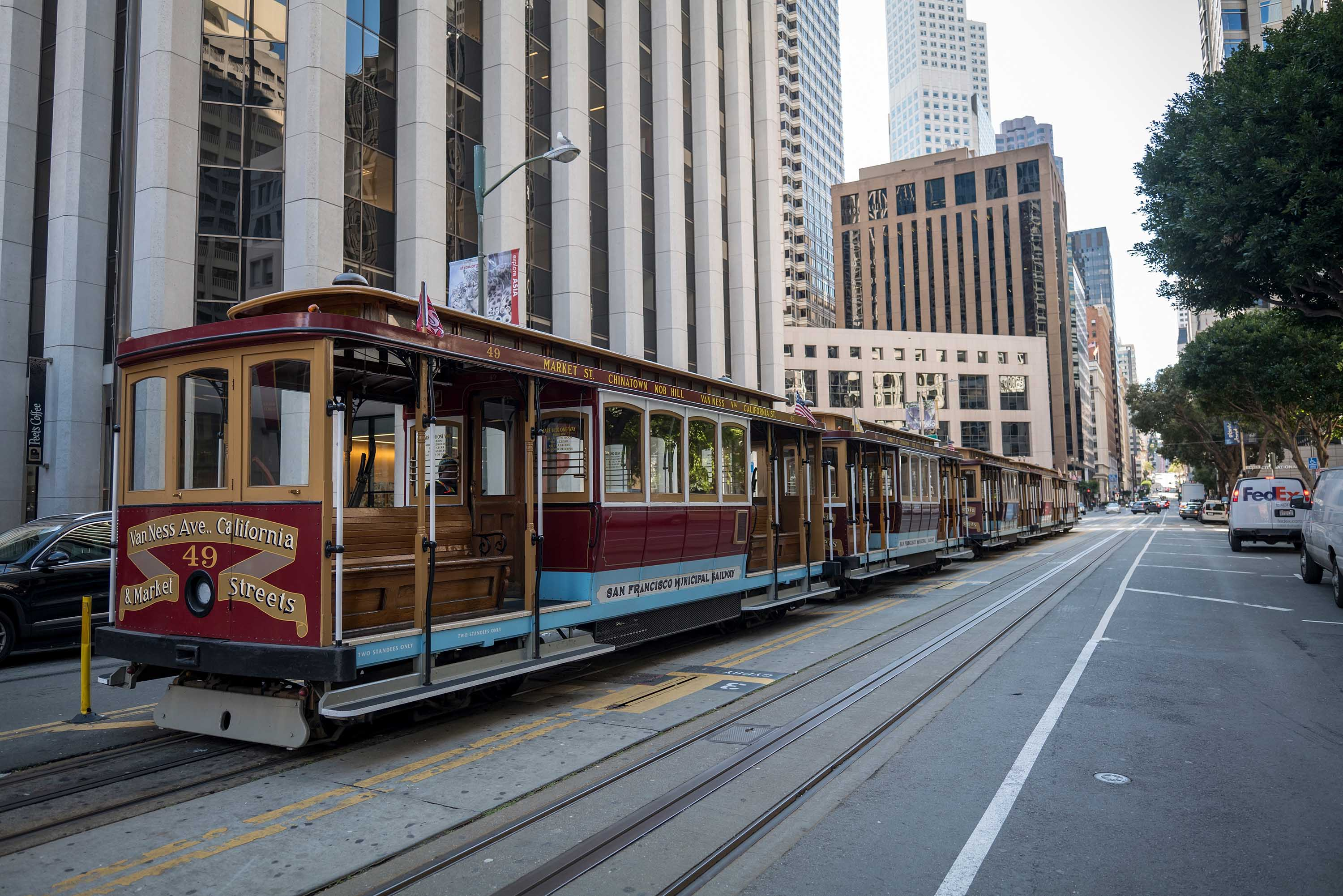 Empty cable cars are seen in San Francisco, California, on Monday.