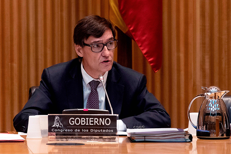 Spanish Health Minister Salvador Illa holds a briefing about the daily figures related to the coronavirus in Madrid on Thursday, March 26.