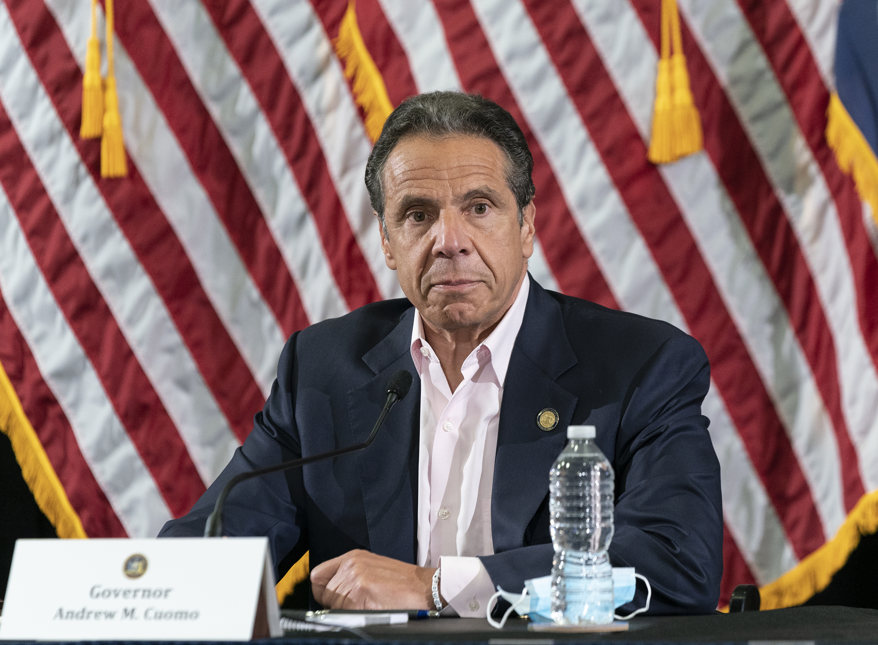 New York Gov. Andrew Cuomo speaks during a media briefing on May 30.
