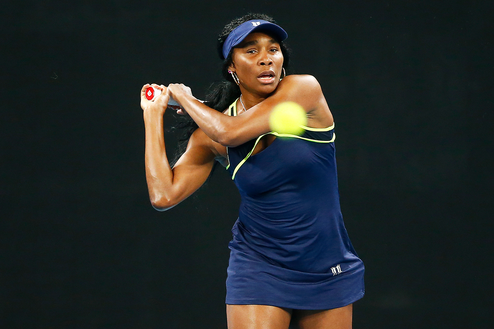 Venus Williams practices ahead of the 2020 Australian Open at Melbourne Park on January 16, in Melbourne, Australia.