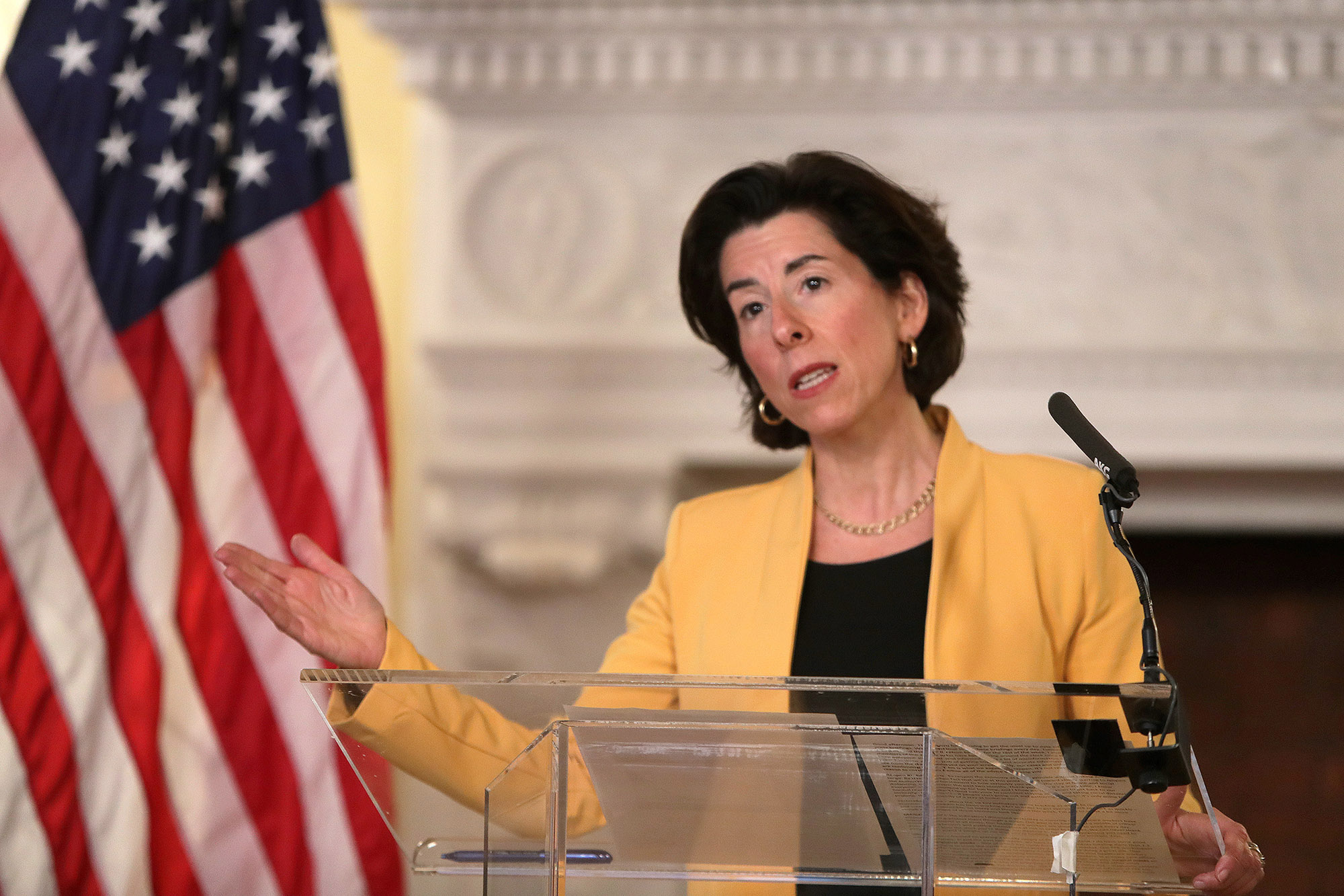 Rhode Island Governor Gina M. Raimondo provides the daily update on the coronavirus in Providence, Rhode Island, on April 21.