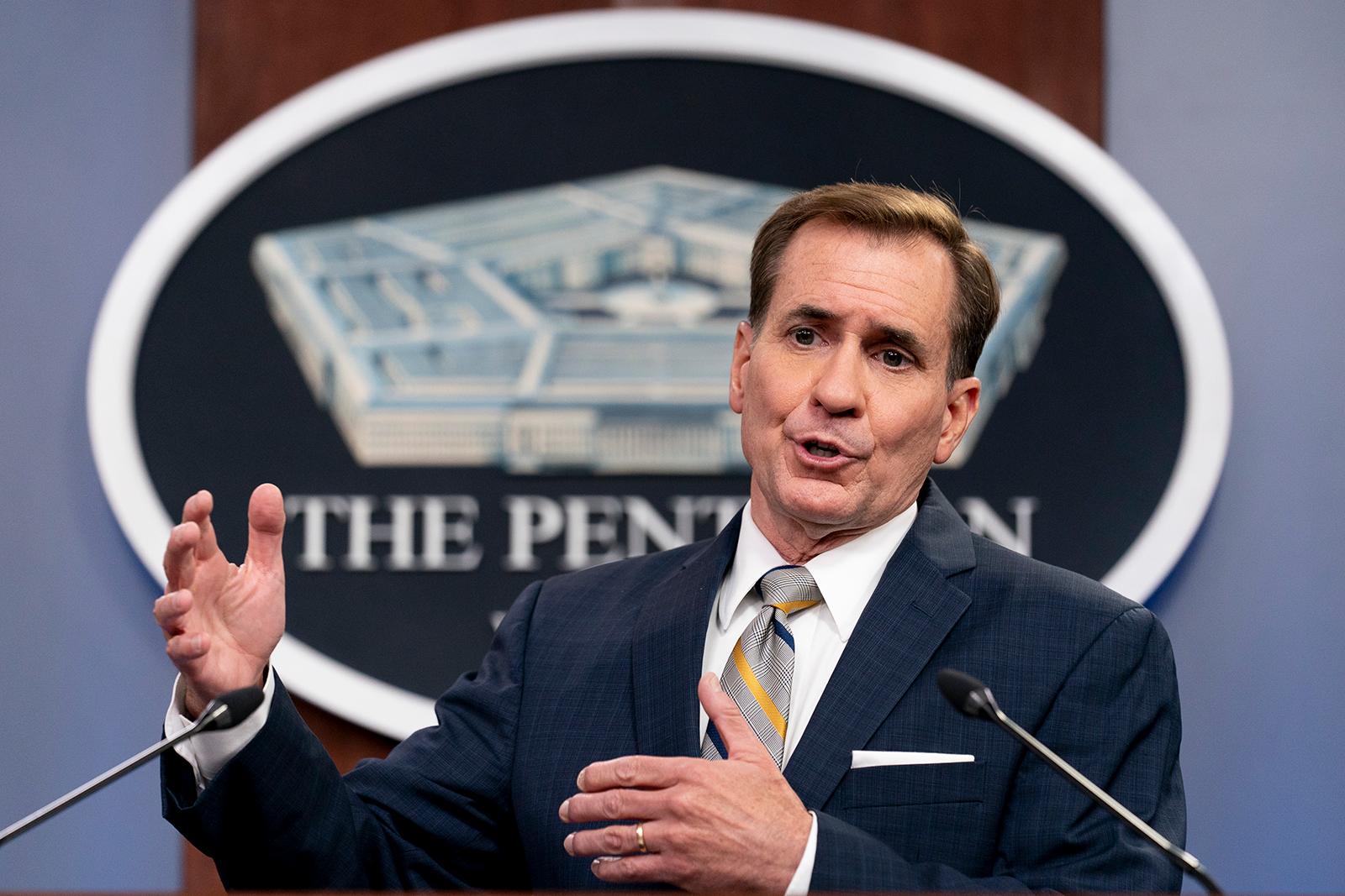Pentagon spokesman John Kirby speaks during a briefing at the Pentagon in Washington on Thursday.