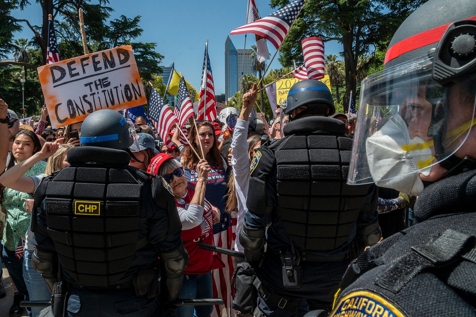More than 30 people were arrested on Friday, May 1, 2020, during a demonstration at the California Capitol Building.