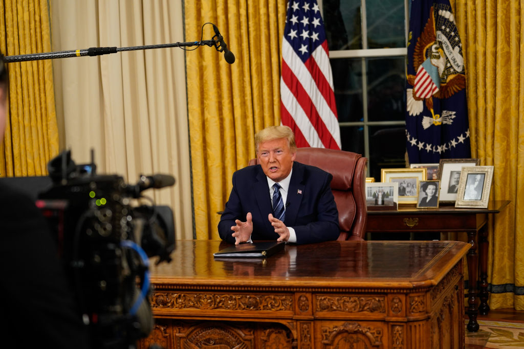 President Donald Trump addresses the nation from the Oval Office about the widening coronavirus crisis on March 11, 2020 in Washington.