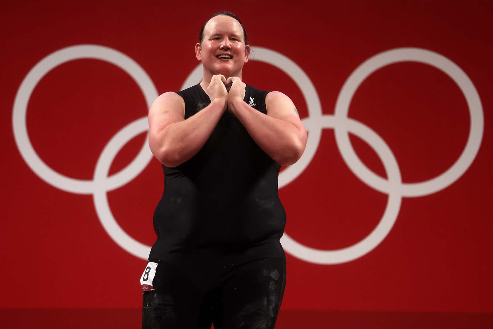 Laurel Hubbard of Zealand reacts during the women's weightlifting +87kg event on August 2.