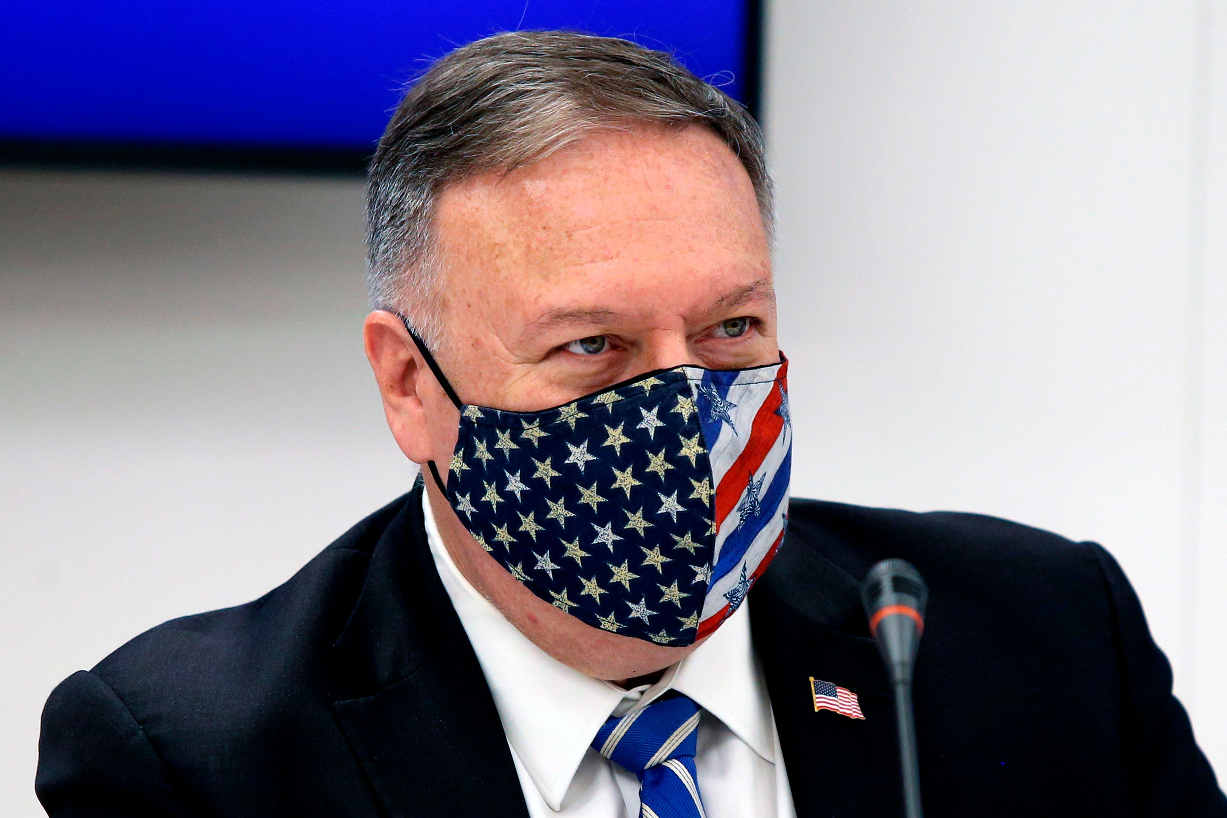 US Secretary of State Mike Pompeo attends a signing agreement ceremony in Thessaloniki, Greece, on September 28.