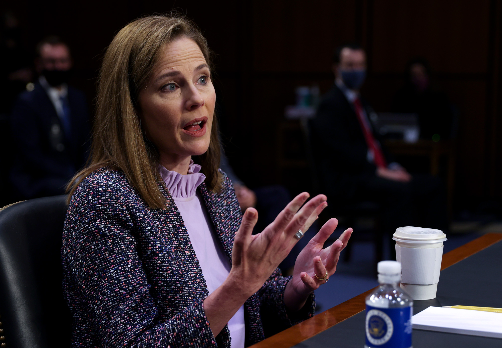 Supreme Court nominee Judge Amy Coney Barrett testifies before the Senate Judiciary Committee on the third day of her Supreme Court confirmation hearing on Capitol Hill on October 14 in Washington, DC.